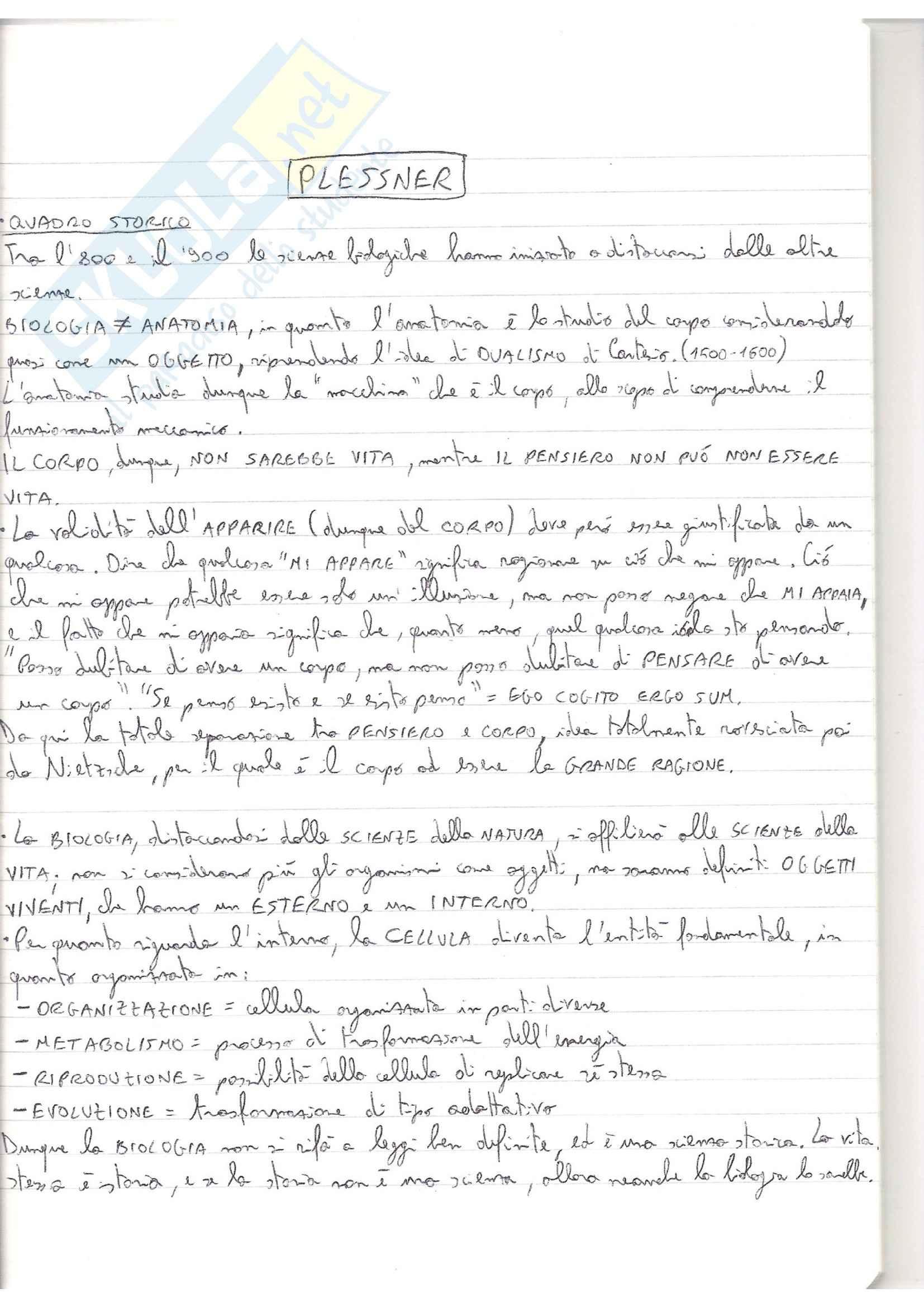 Riassunto esame filosofia, prof. Masullo, libro consigliato I gradi dell'organico e l'uomo, Plessner