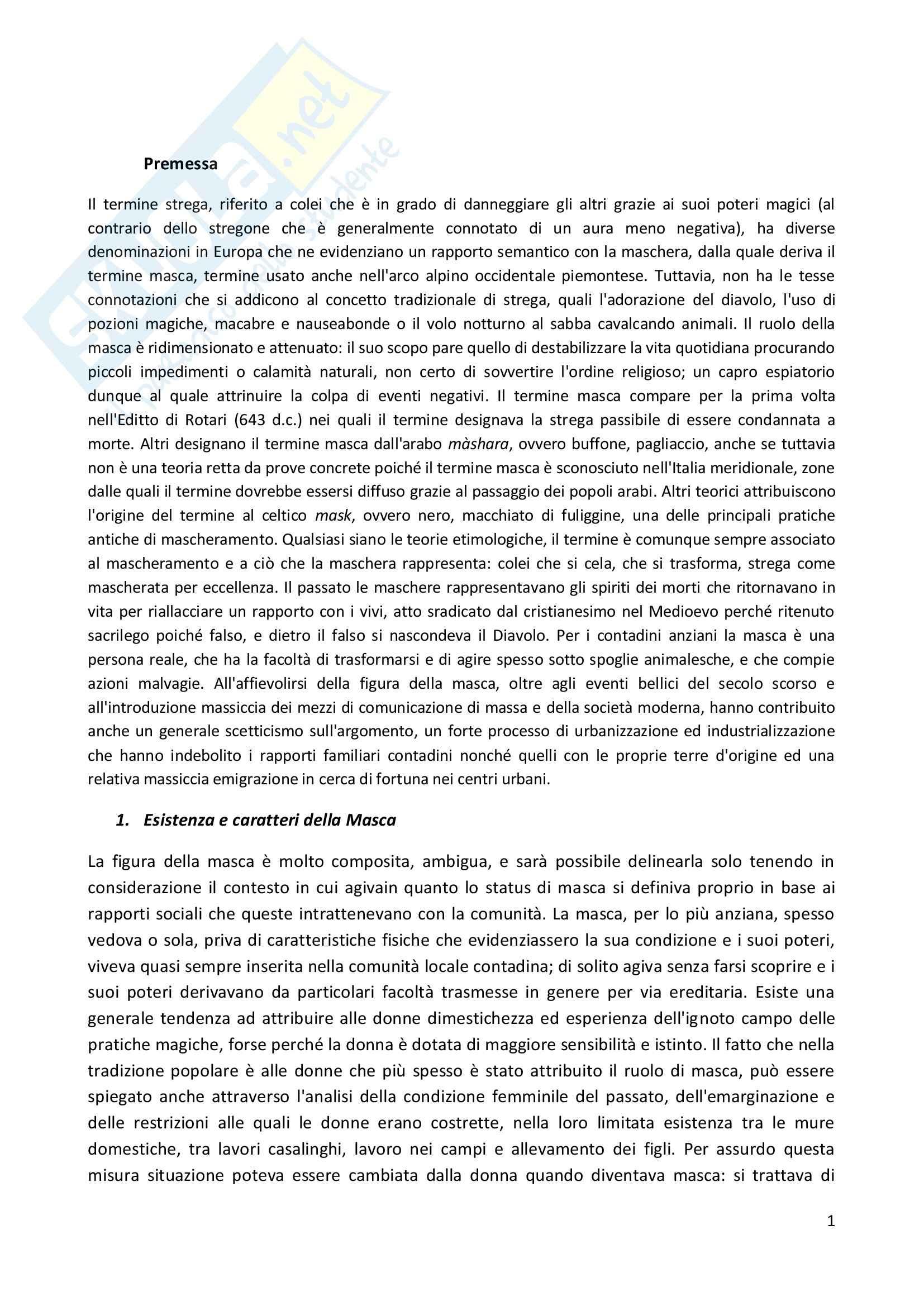 Riassunto esame Antropologia culturale, prof. Bonato, libro consigliato Vita da strega, Masca, Faja, Framasun, Bonato