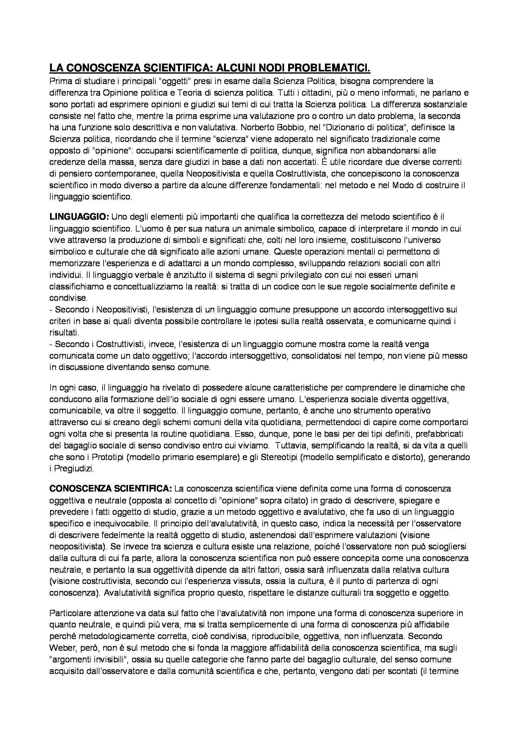 Riassunto esame Scienza politica, prof. Agosta, libro consigliato Percorsi di analisi di scienza politica