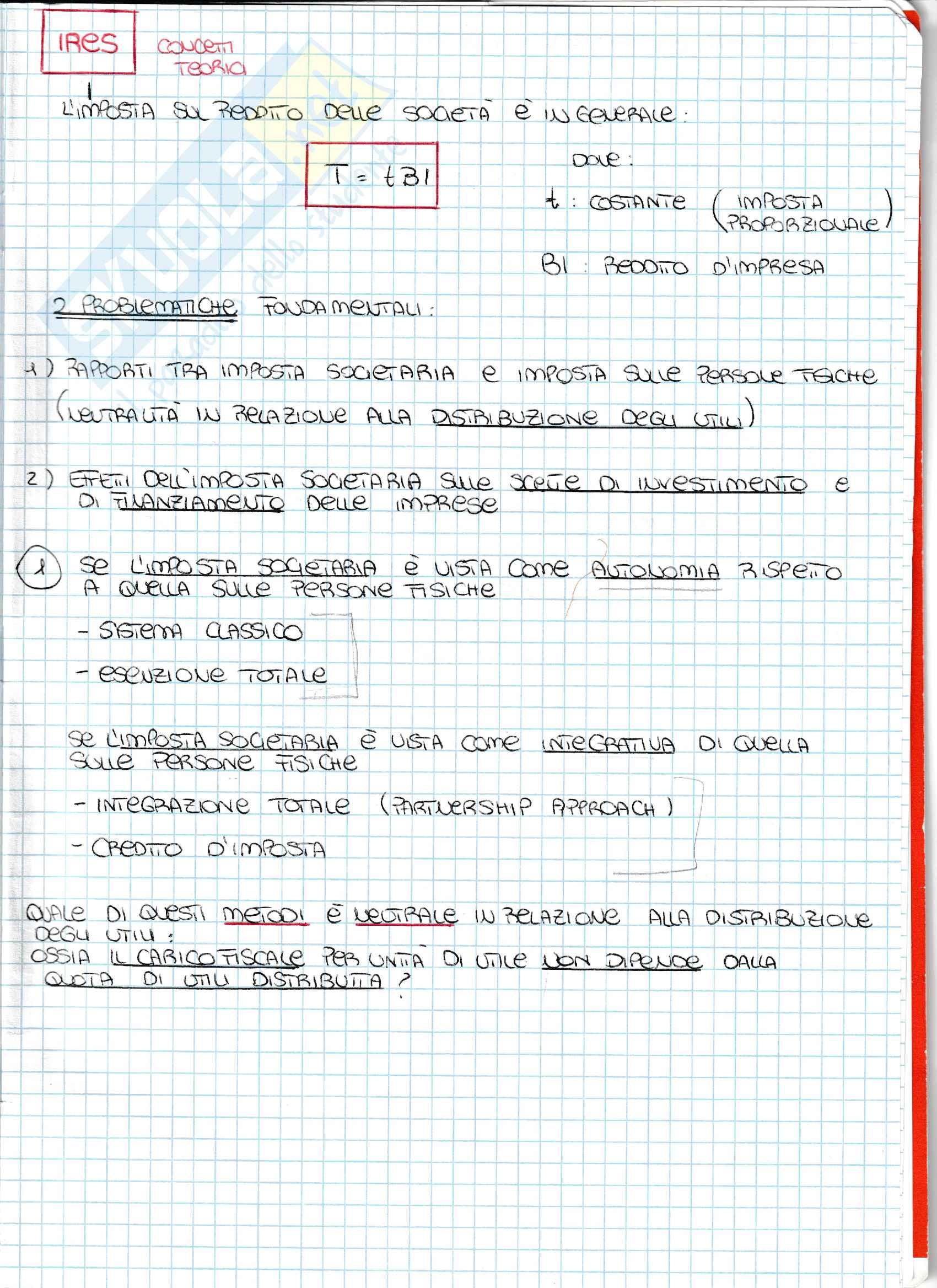 Appunti - L'ires: caratteristiche fondamentali e aliquote in Italia