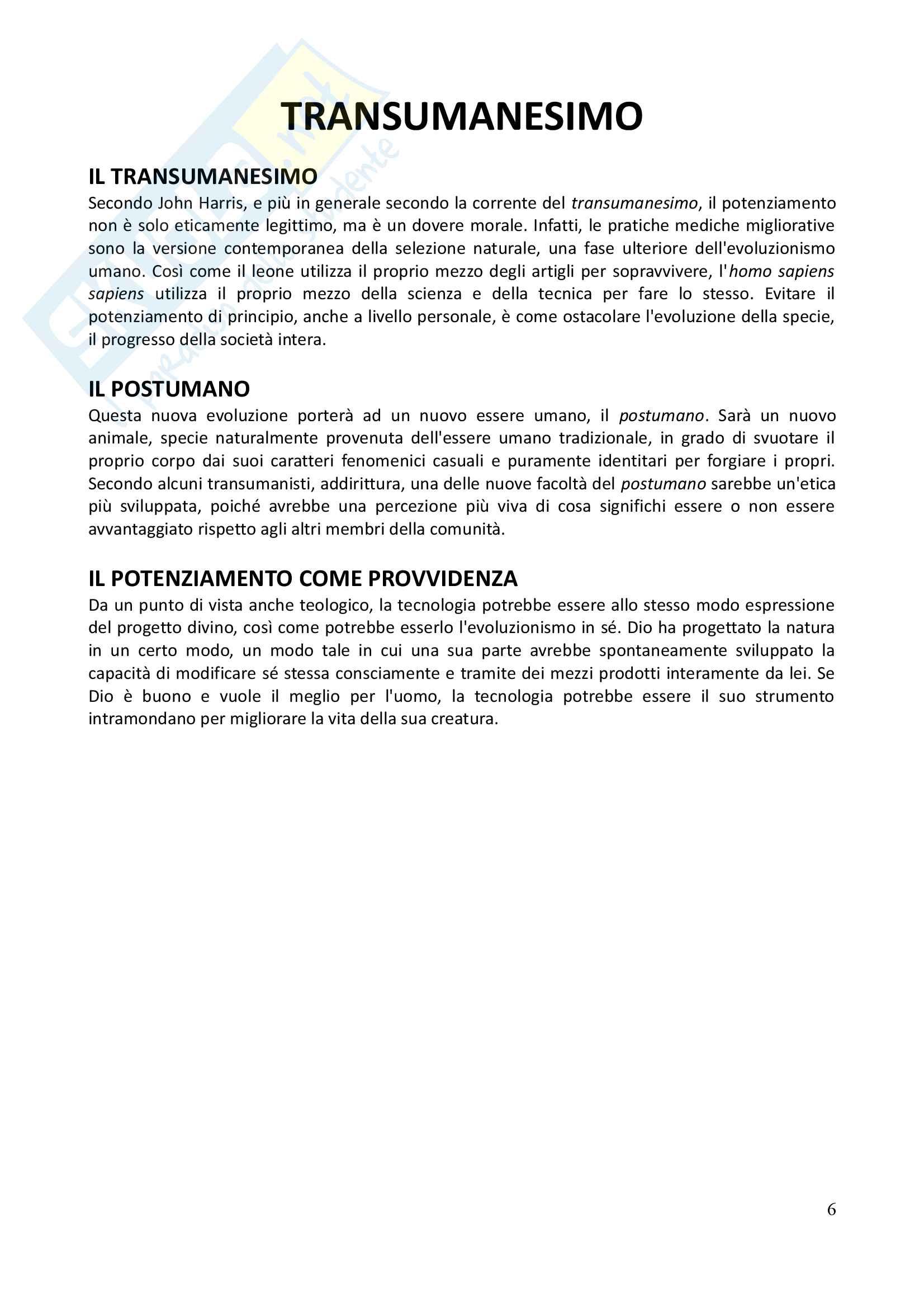 Etica applicata: La questione del potenziamento umano - Appunti completi Pag. 6