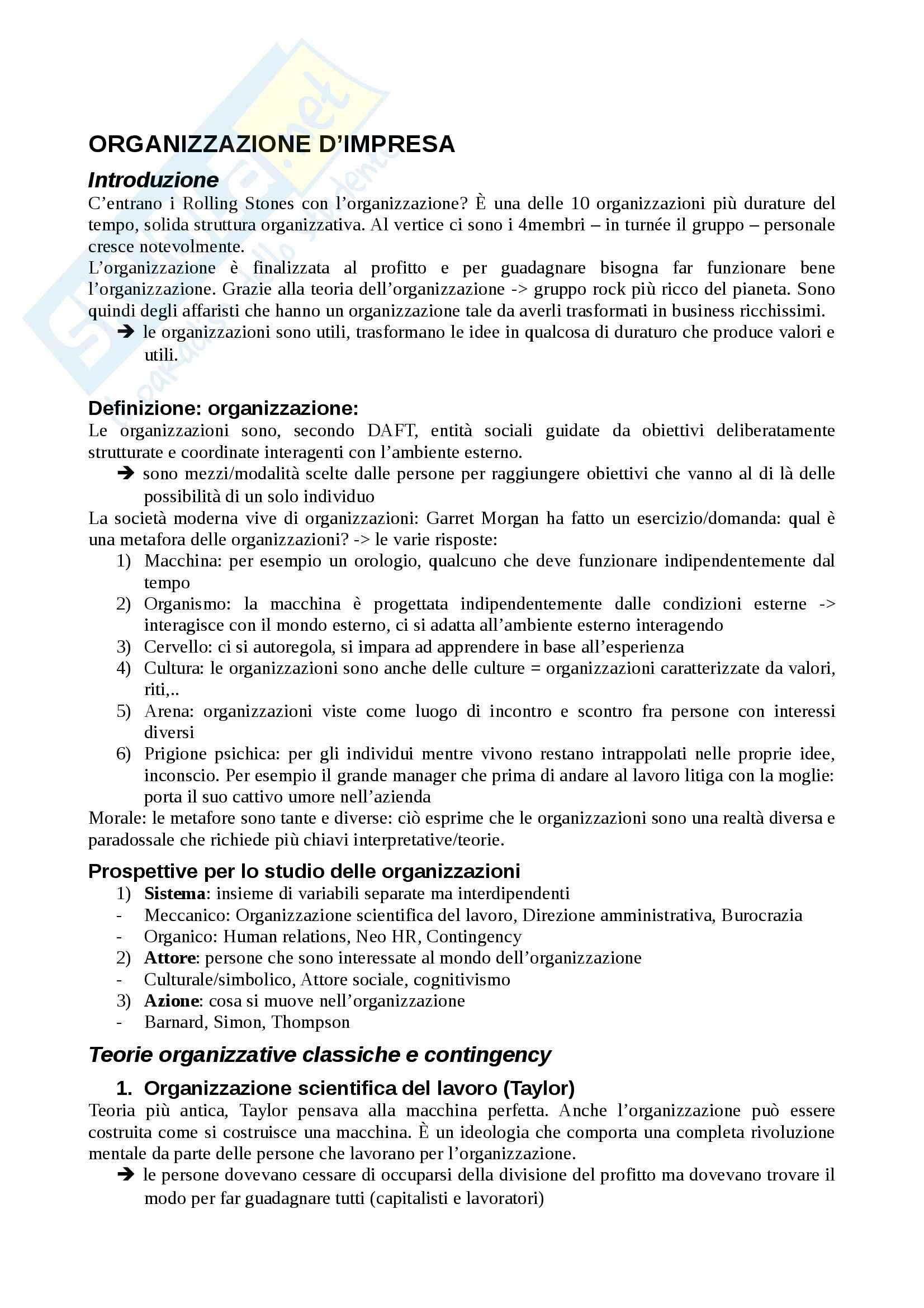 Organizzazione d'impresa - Appunti
