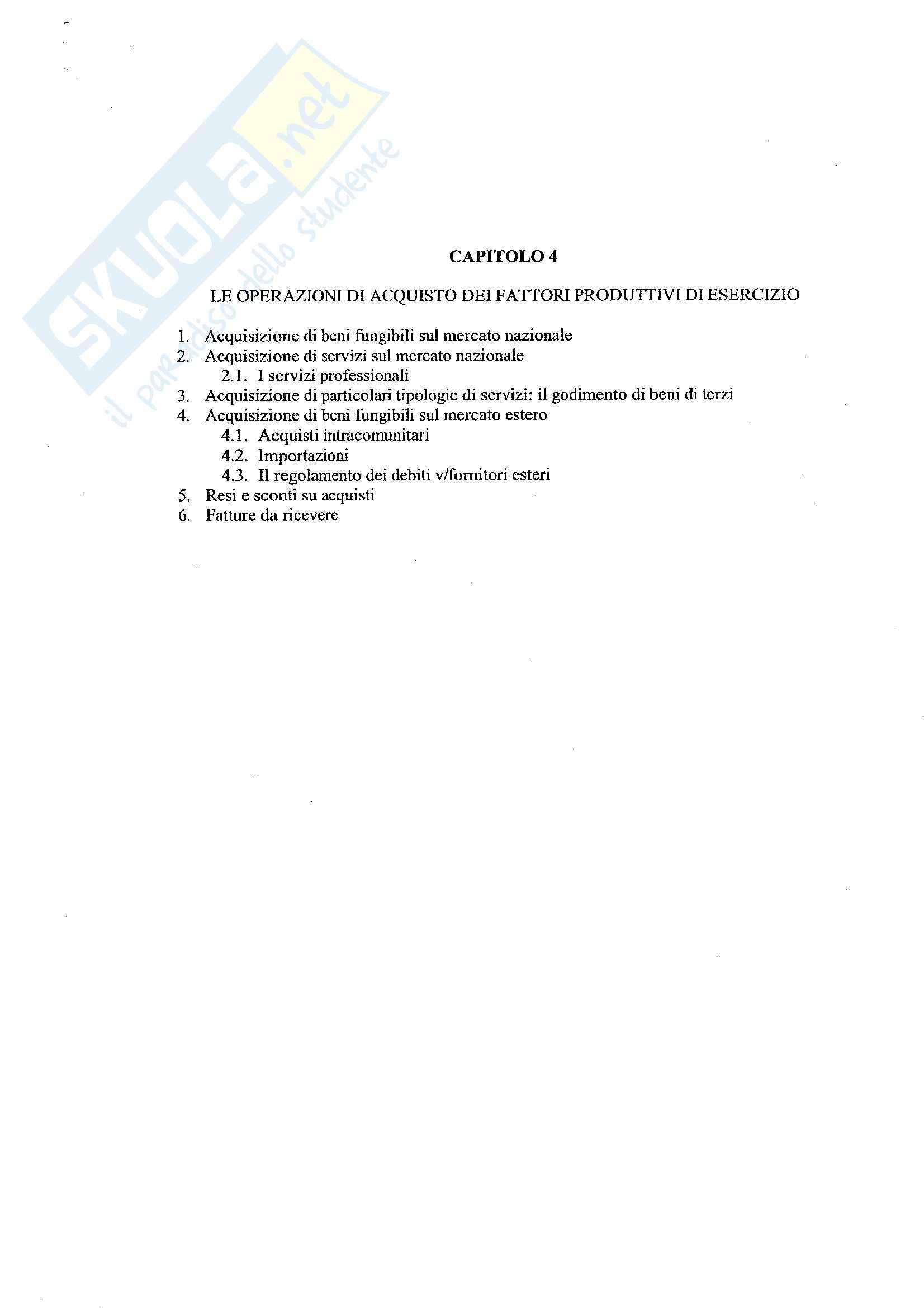 Economia aziendale II - Contabilità cap. 4 - Appunti