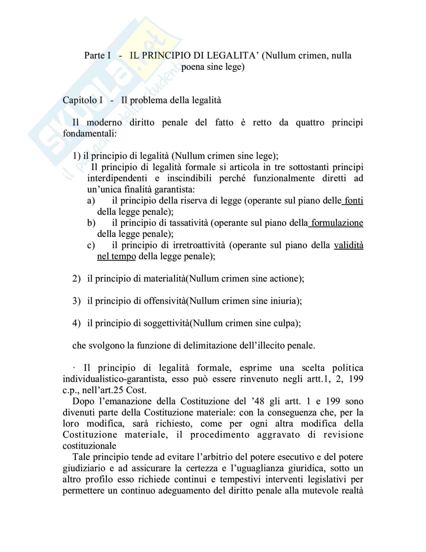 Riassunto esame Diritto penale, prof. Piergallini, libro consigliato Diritto penale, Mantovani