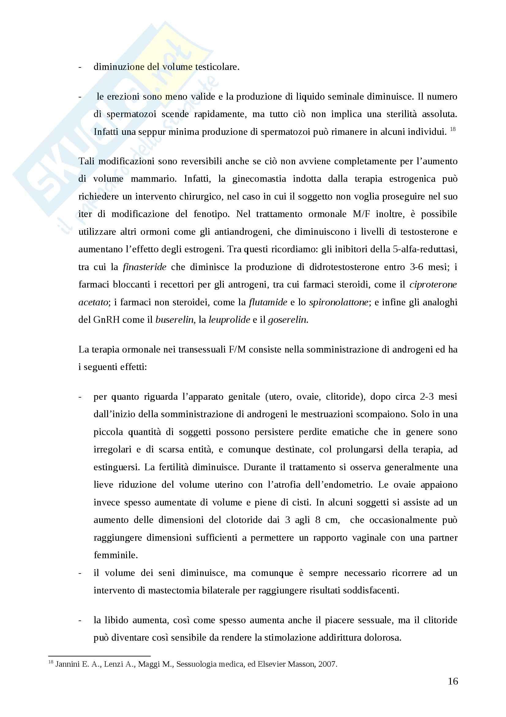 Psicopatologia del comportamento sessuale - transessualismo Pag. 16