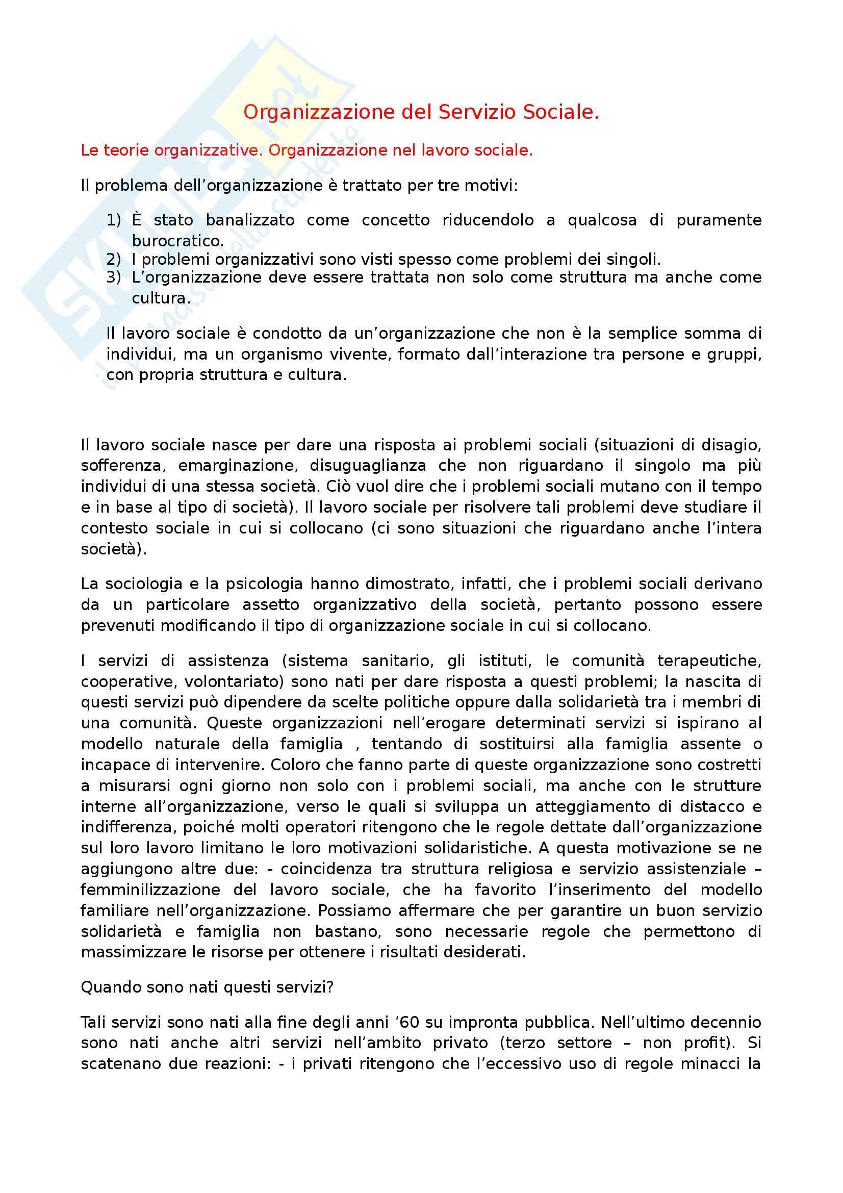 Organizzazione del Servizio Sociale - Riassunto esame, prof. Squillaci