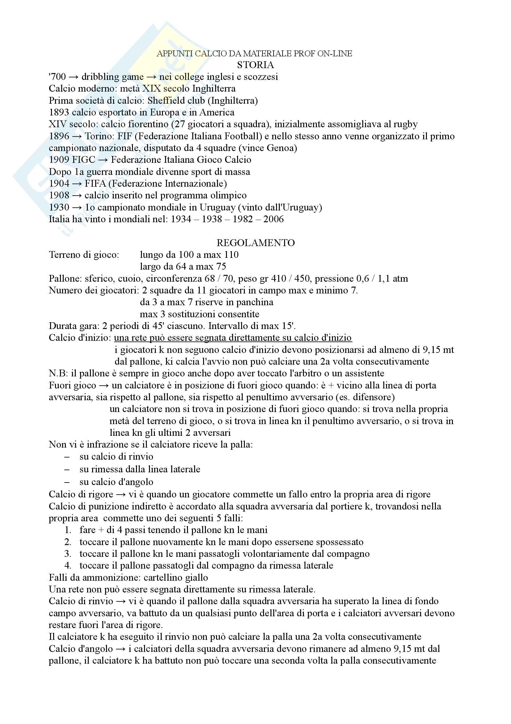 Calcio appunti materiale, prof. Bonali