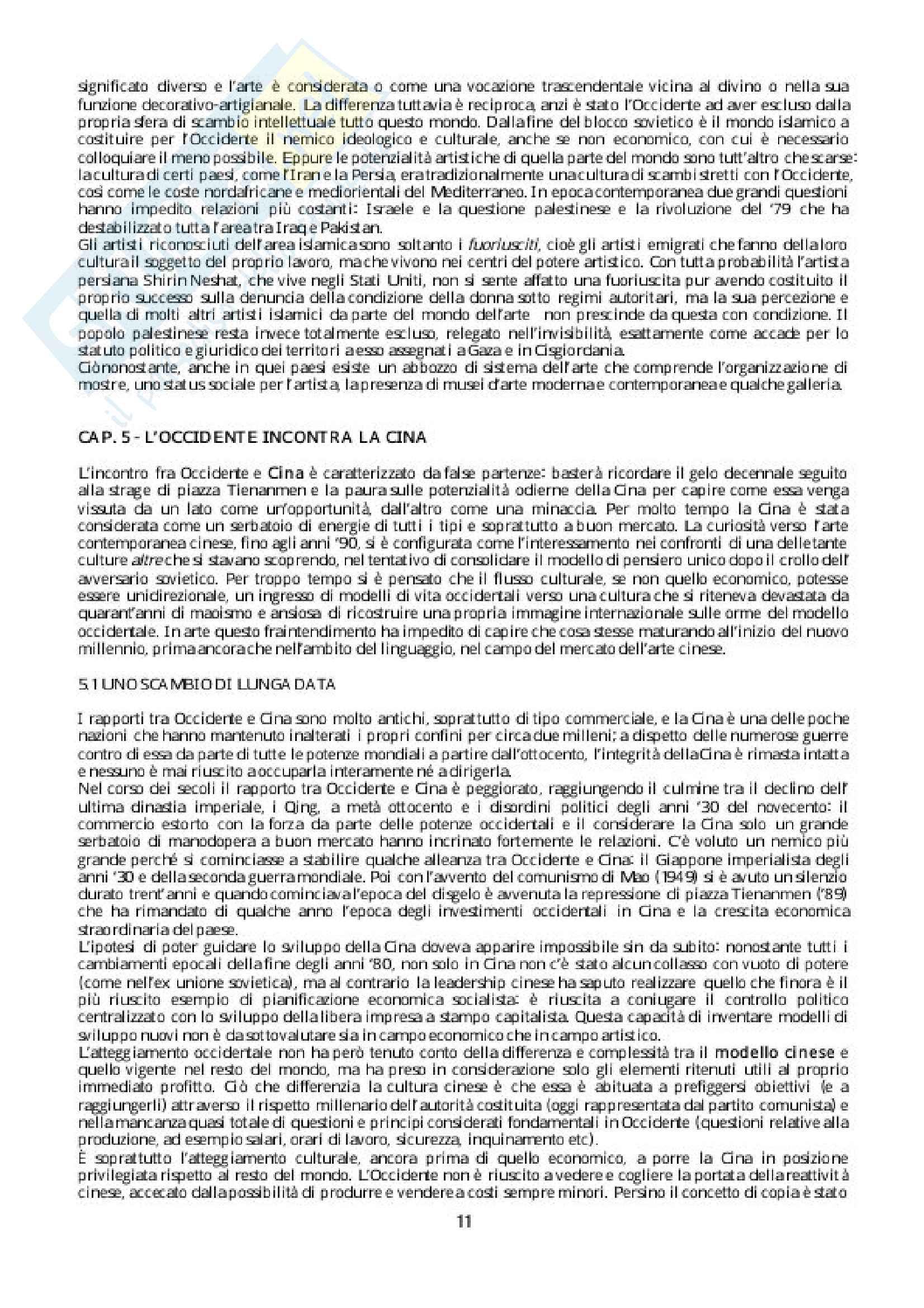 Riassunto esame Storia della critica, Docente Evangelisti. Libro consigliato Breve storia della globalizzazione in arte, Autore: Meneguzzo Pag. 11