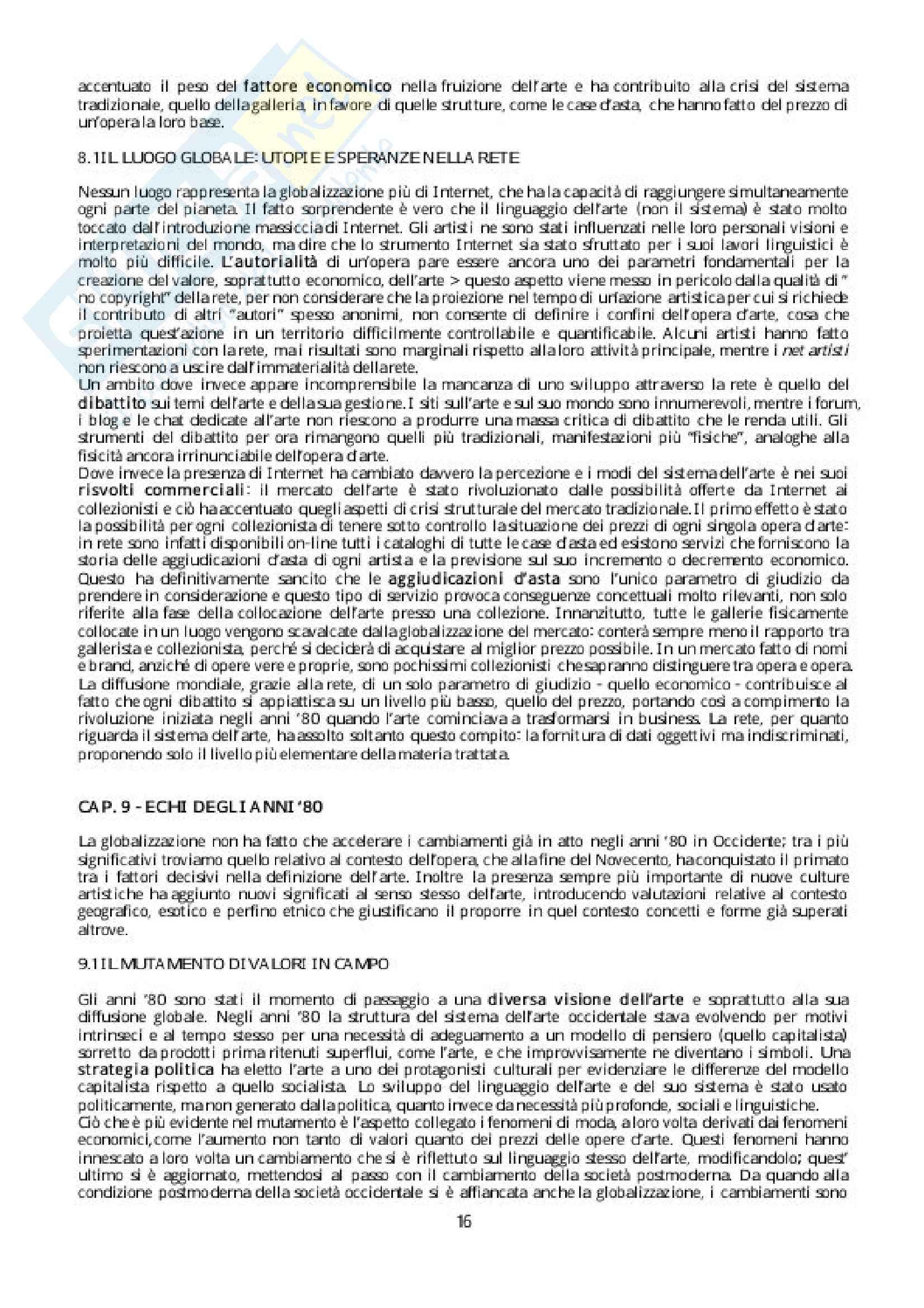Riassunto esame Storia della critica, Docente Evangelisti. Libro consigliato Breve storia della globalizzazione in arte, Autore: Meneguzzo Pag. 16