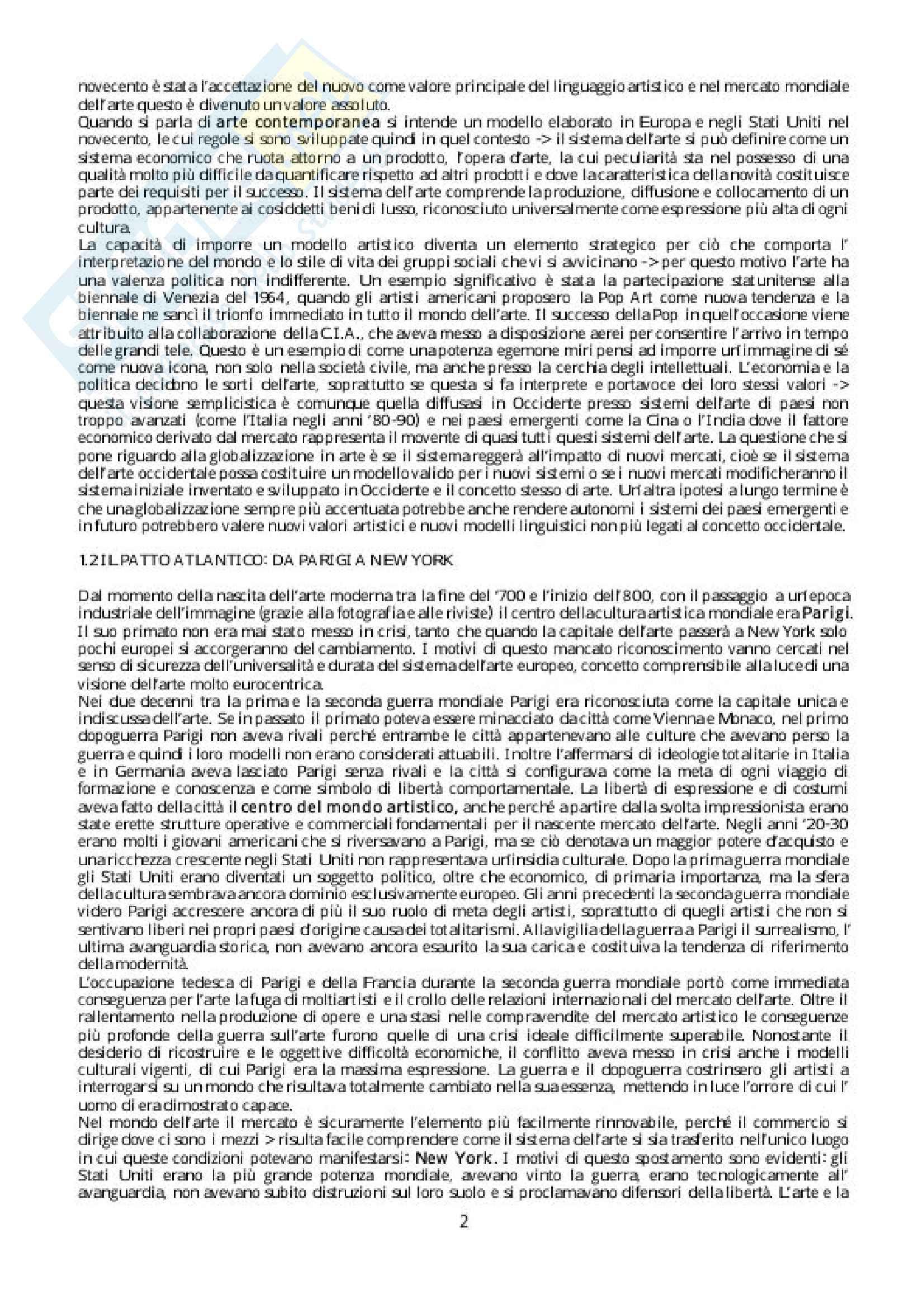 Riassunto esame Storia della critica, Docente Evangelisti. Libro consigliato Breve storia della globalizzazione in arte, Autore: Meneguzzo Pag. 2