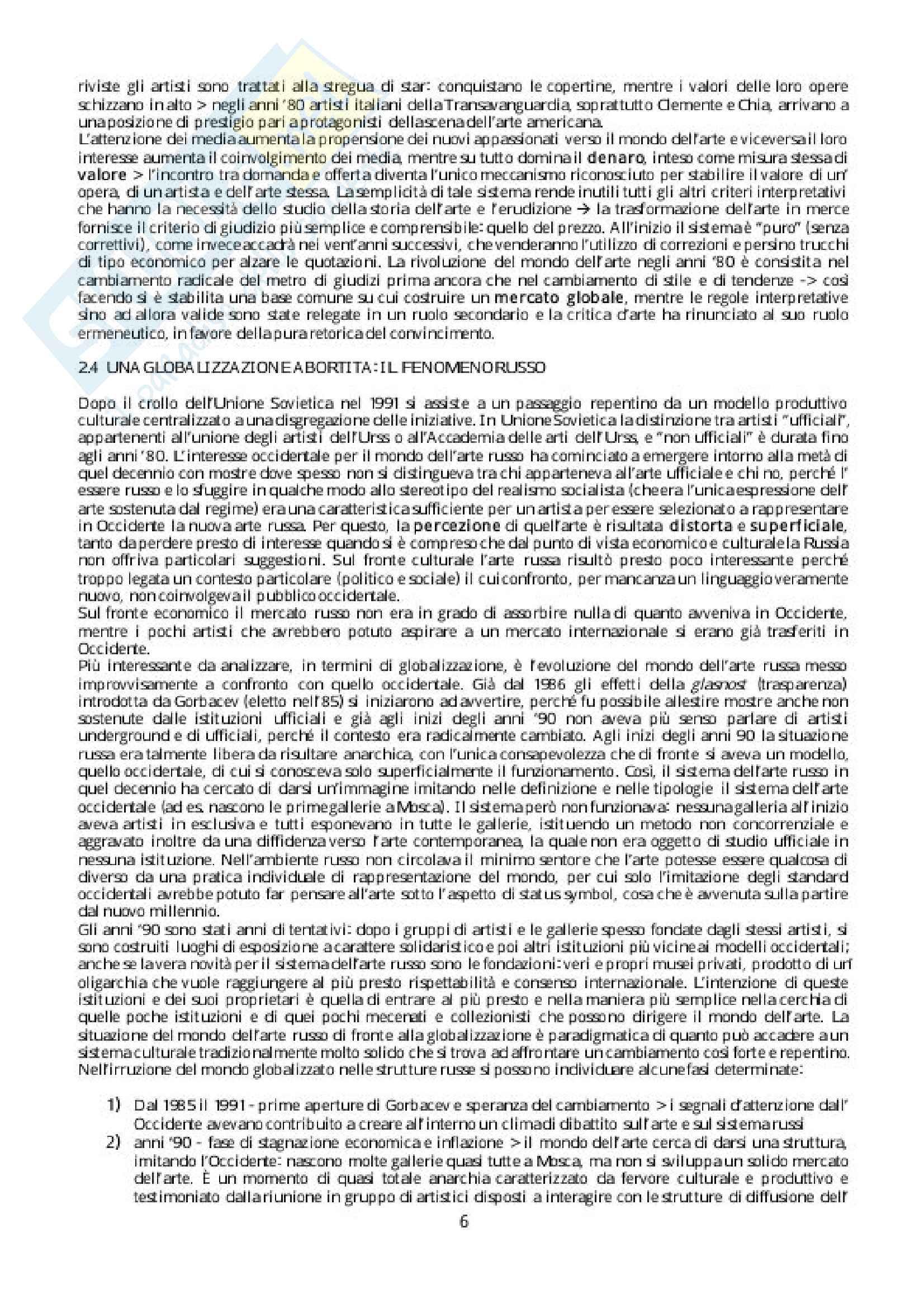 Riassunto esame Storia della critica, Docente Evangelisti. Libro consigliato Breve storia della globalizzazione in arte, Autore: Meneguzzo Pag. 6