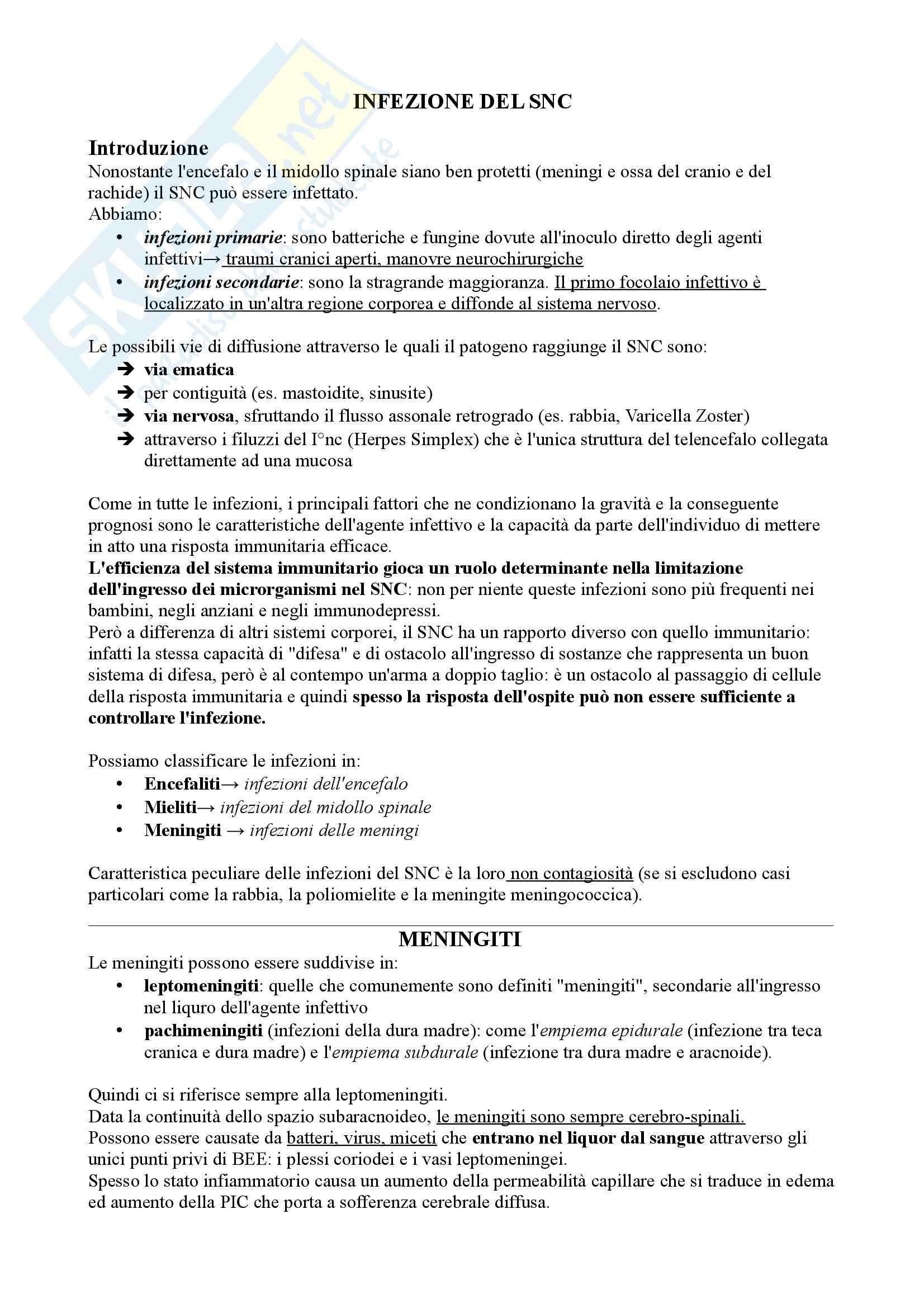 Riassunto esame Neurologia, prof Pinessi, libro consigliato Il Bergamini di Neurologia, Bergamini: infezioni del SNC