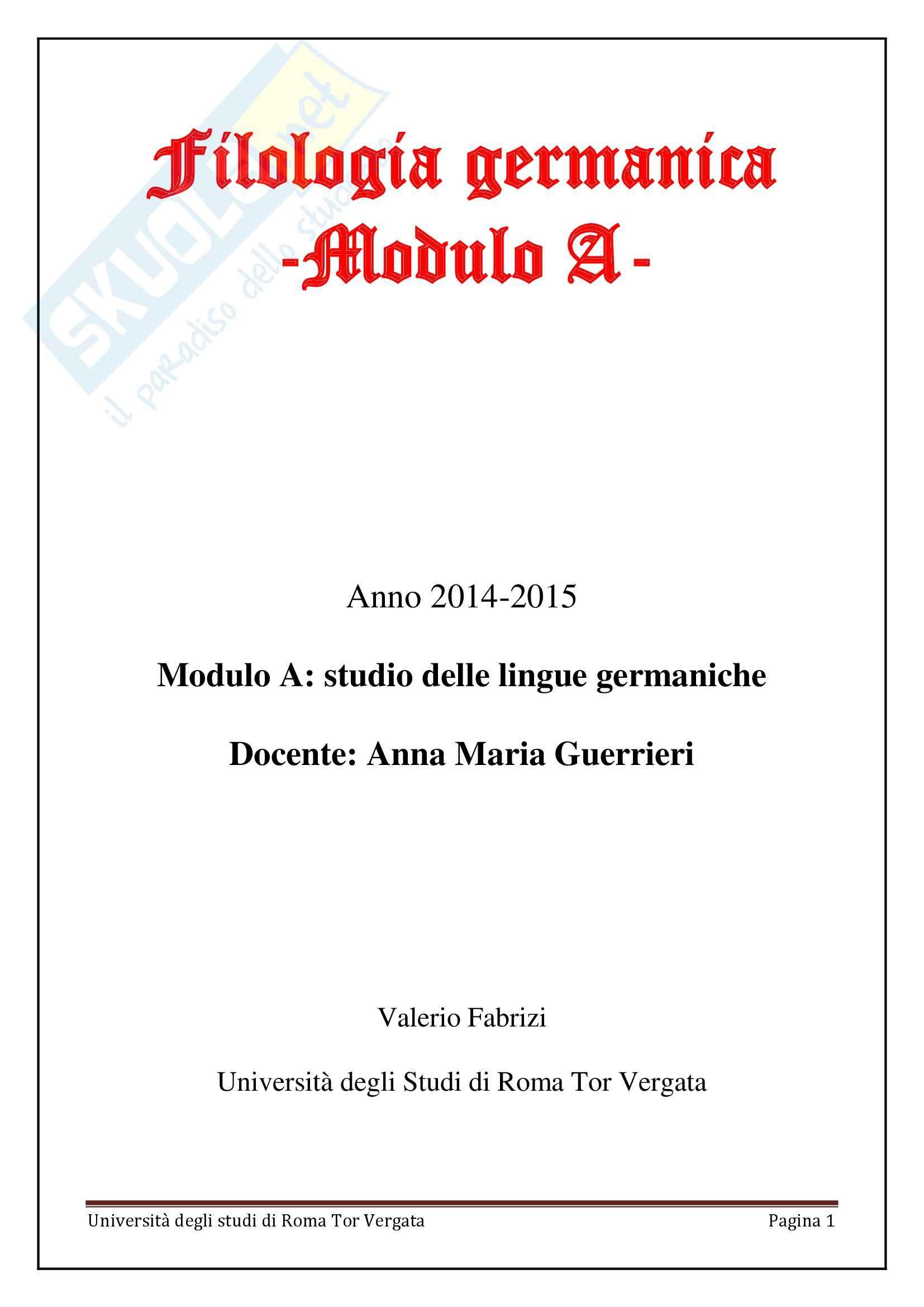 Filologia Germanica - Modulo A