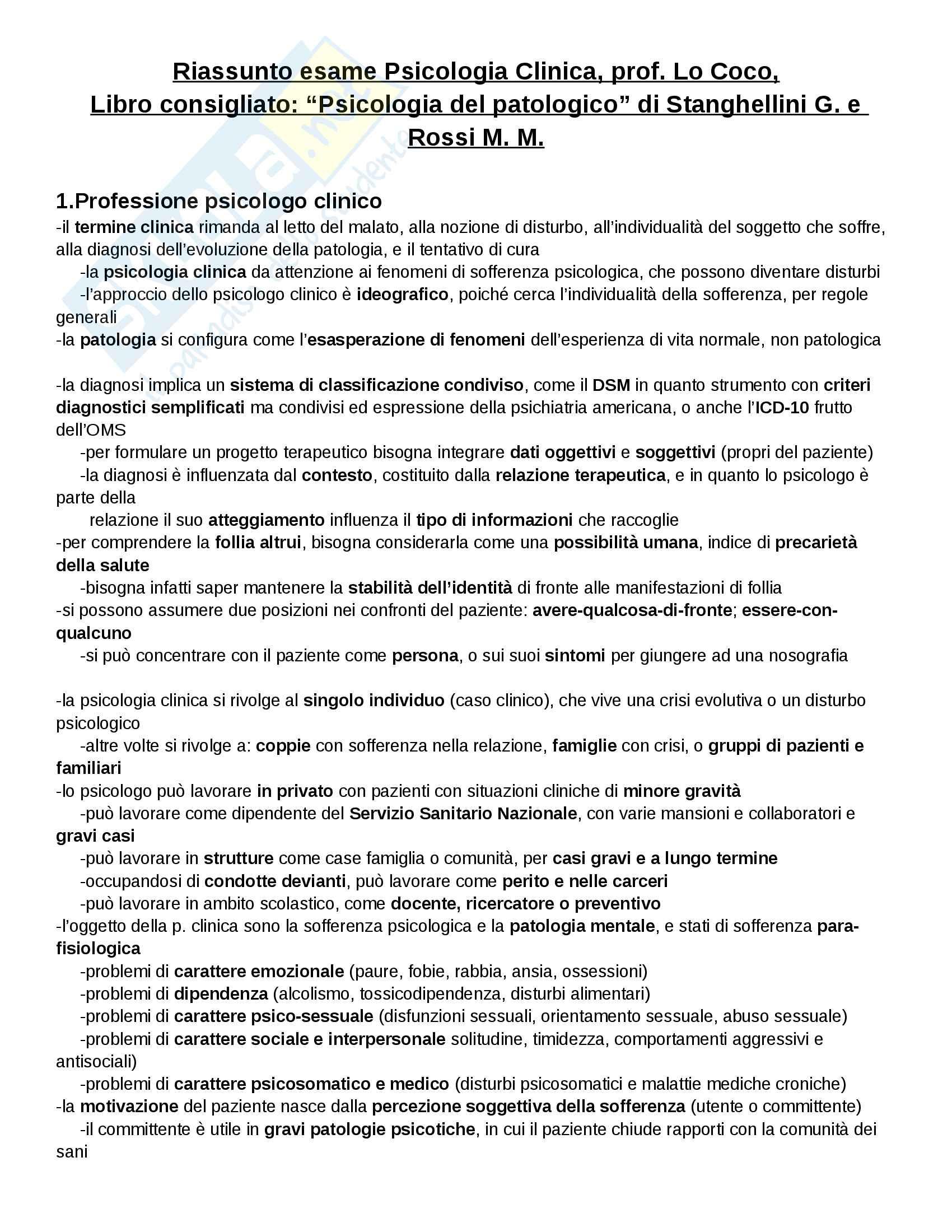 appunto G. Lo Coco Psicologia clinica