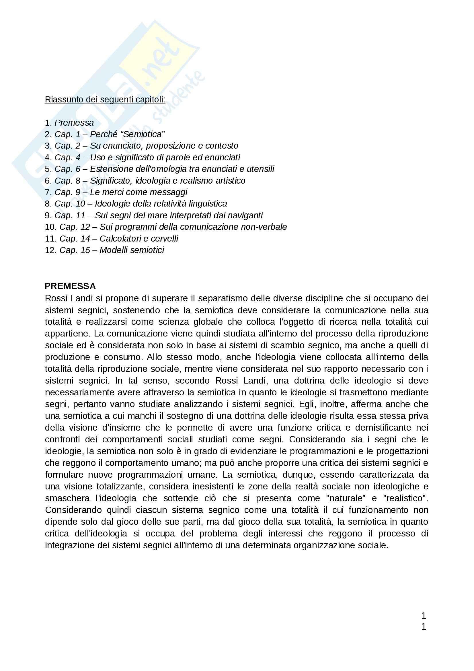 Riassunto esame Filosofia del linguaggio, prof. Ponzio, libro consigliato Semiotica e Ideologia, Rossi Landi