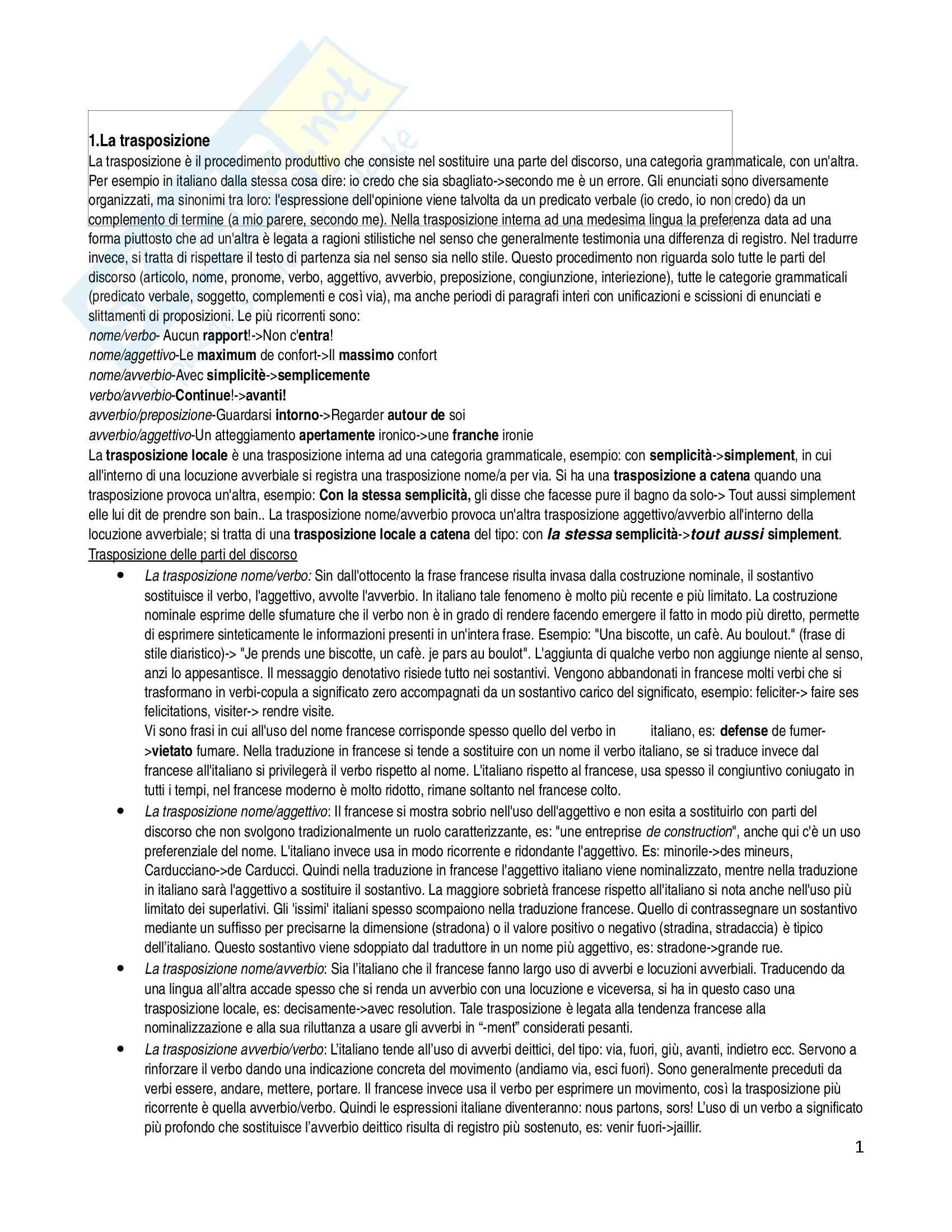 Riassunto esame Lingua francese, prof. Corda, libro consigliato La pratica della traduzione, Podeur