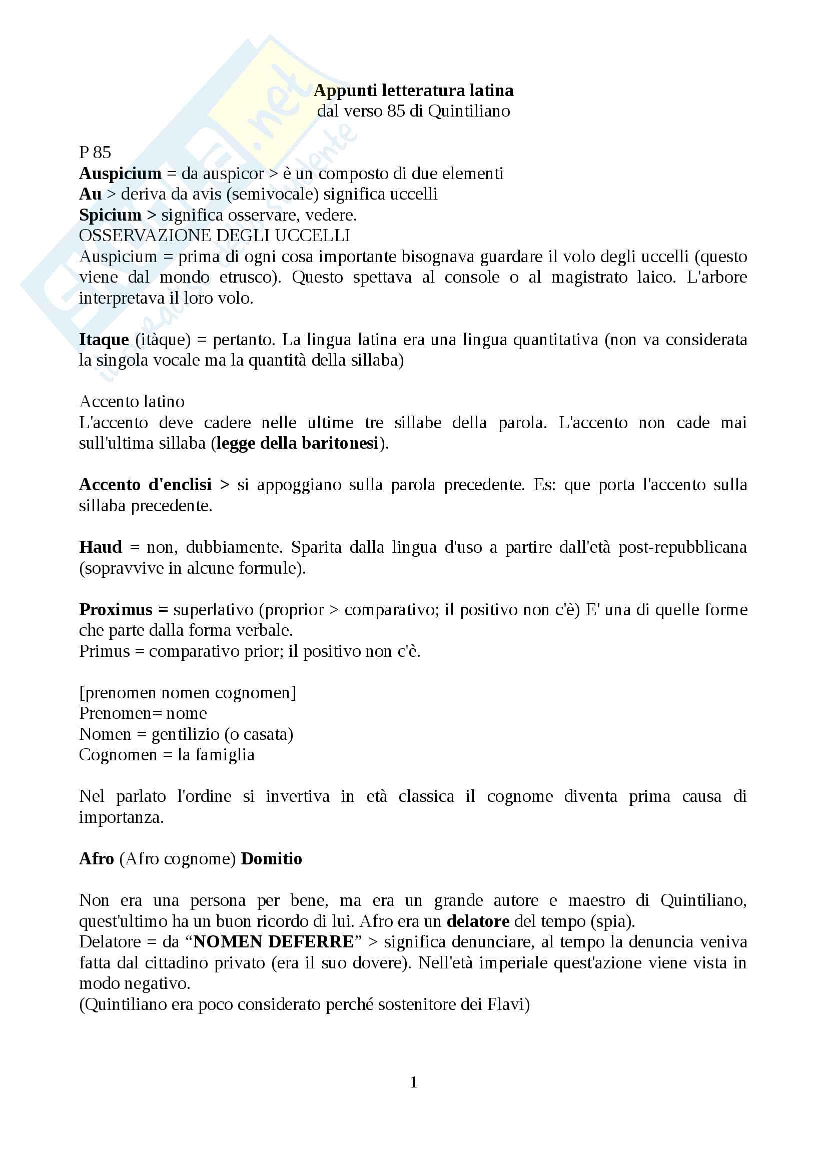 Appunti letteratura latina introduttivo prof. Cavarzere