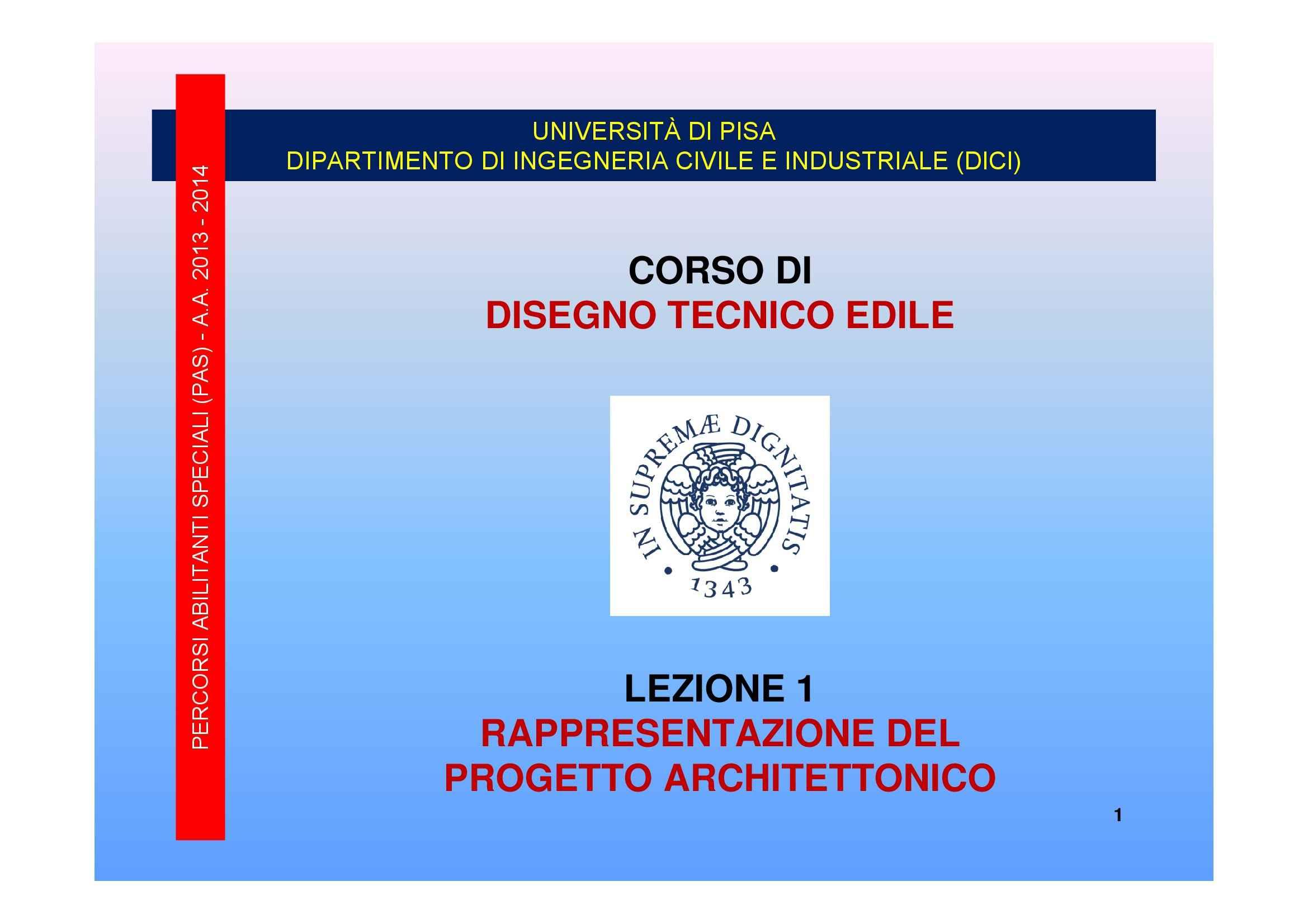 Rappresentazione del progetto, Dispensa di Disegno Tecnico