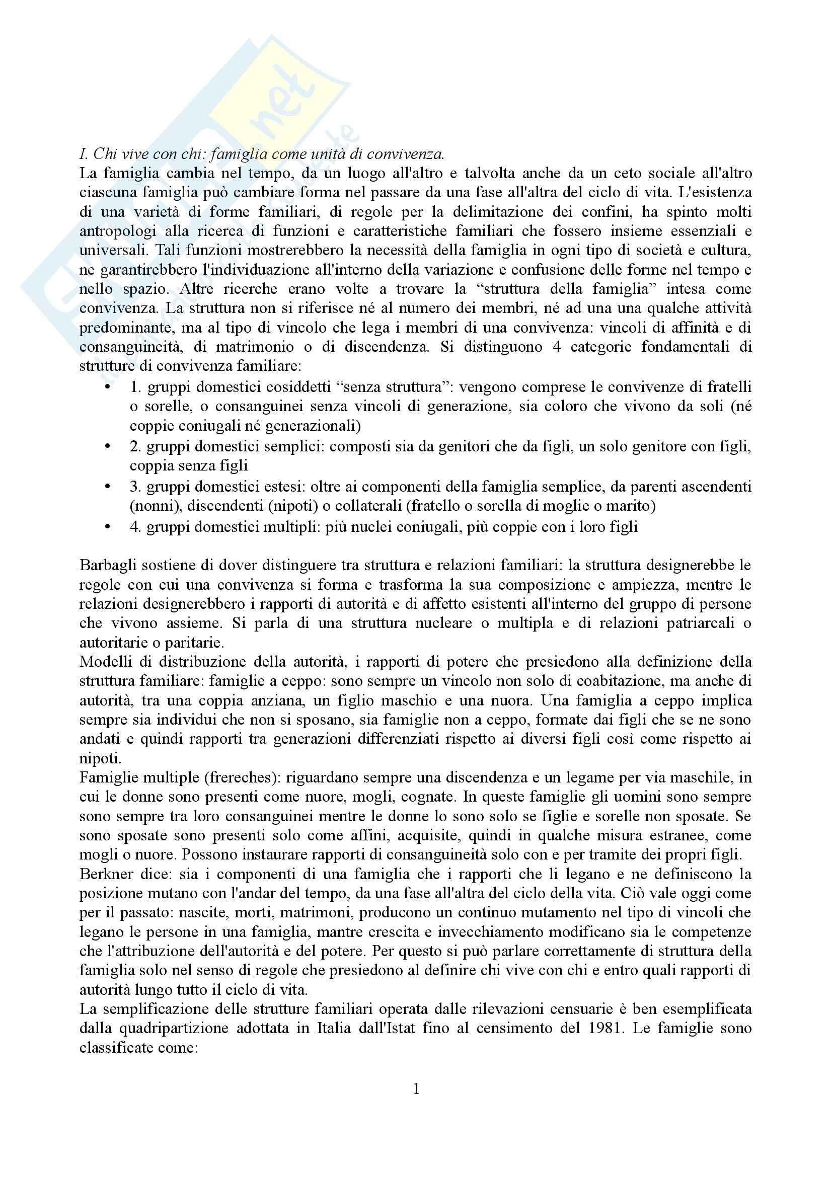Riassunto esame Sociologia della famiglia, prof. Grasso, libro consigliato Sociologia della famiglia, Naldini, Saraceno
