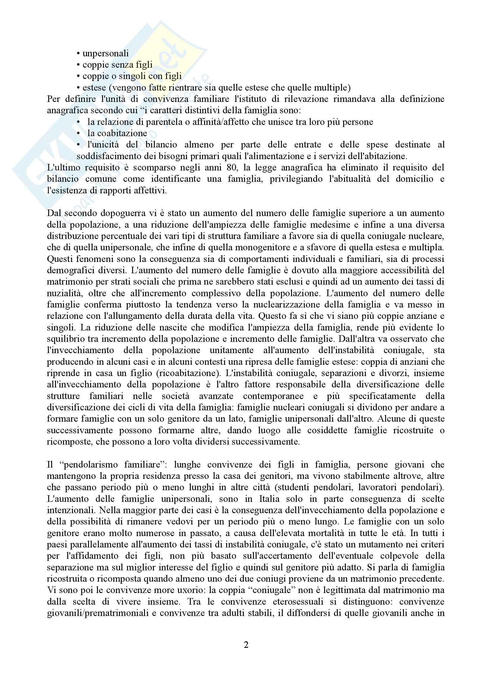 Riassunto esame Sociologia della famiglia, prof. Grasso, libro consigliato Sociologia della famiglia, Naldini, Saraceno Pag. 2