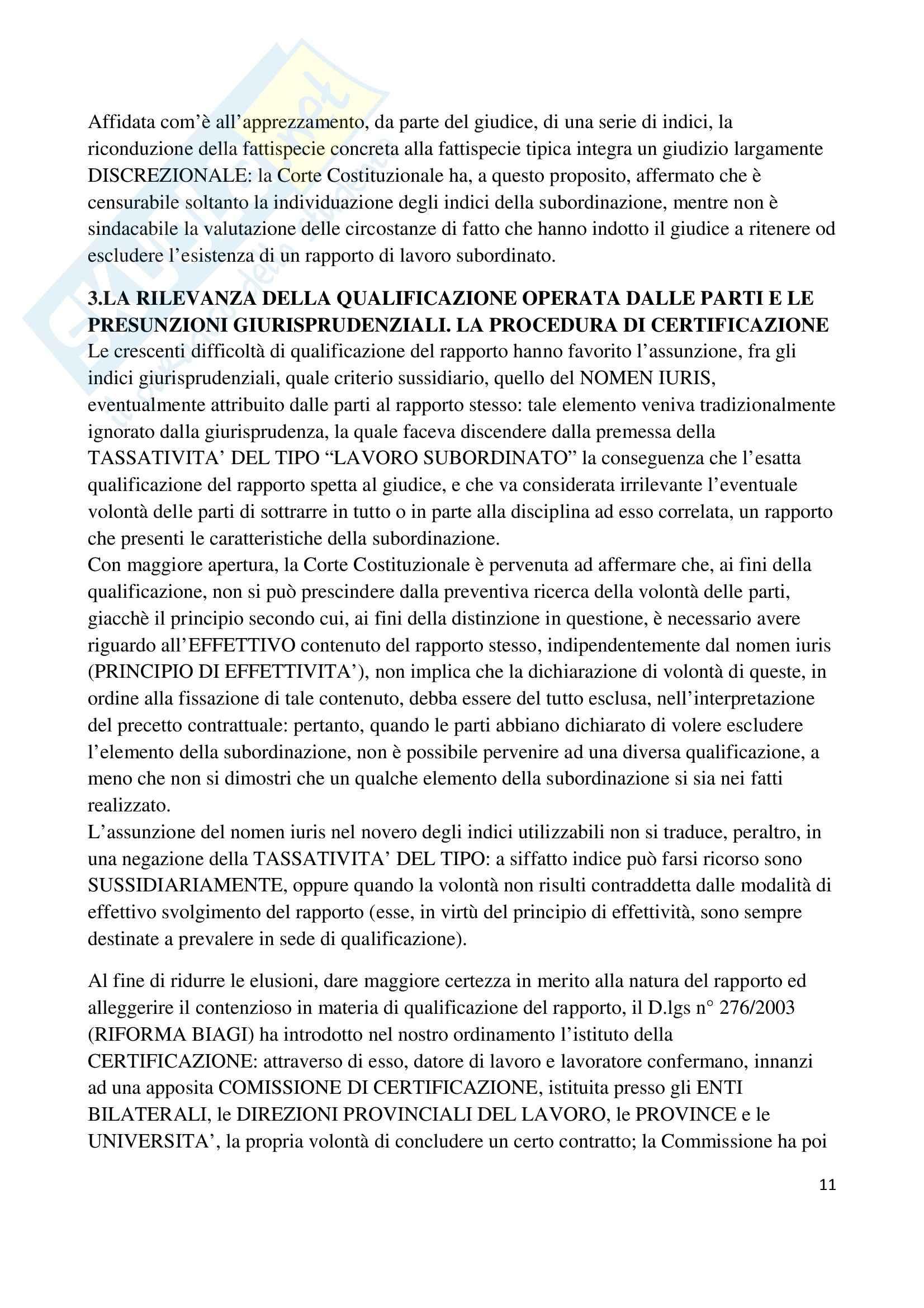 Riassunto esame Diritto del Lavoro, prof. Renga, libro consigliato Diritto del Lavoro, di Carinci Pag. 11