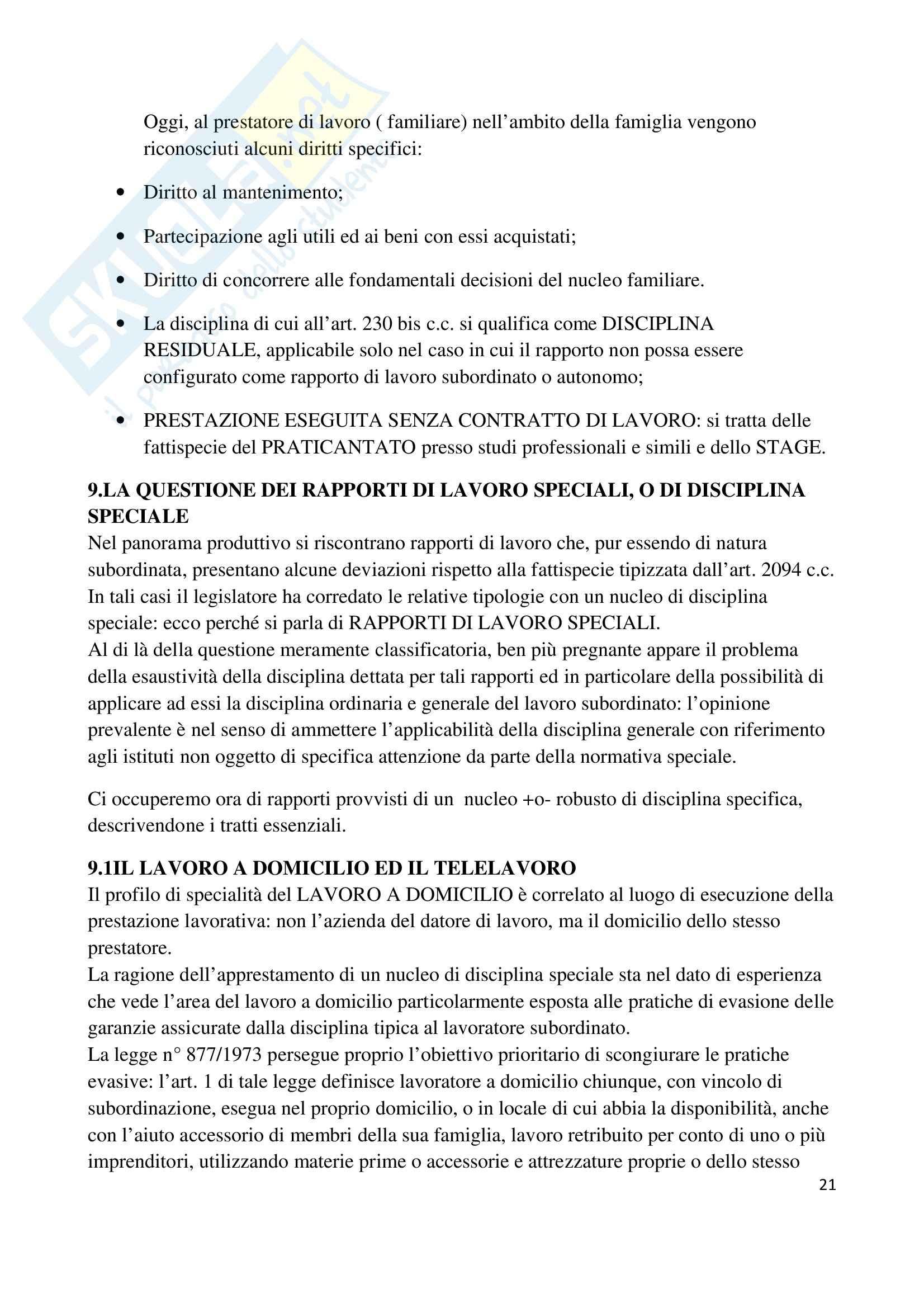 Riassunto esame Diritto del Lavoro, prof. Renga, libro consigliato Diritto del Lavoro, di Carinci Pag. 21