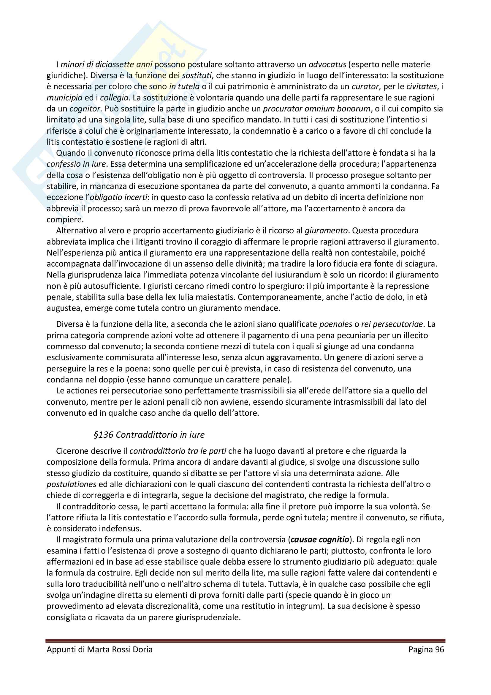 """Riassunto esame Istituzioni di Diritto Romano, docente Brutti, libro consigliato """"Il Diritto Privato nell'antica Roma"""", Massimo Brutti Pag. 96"""