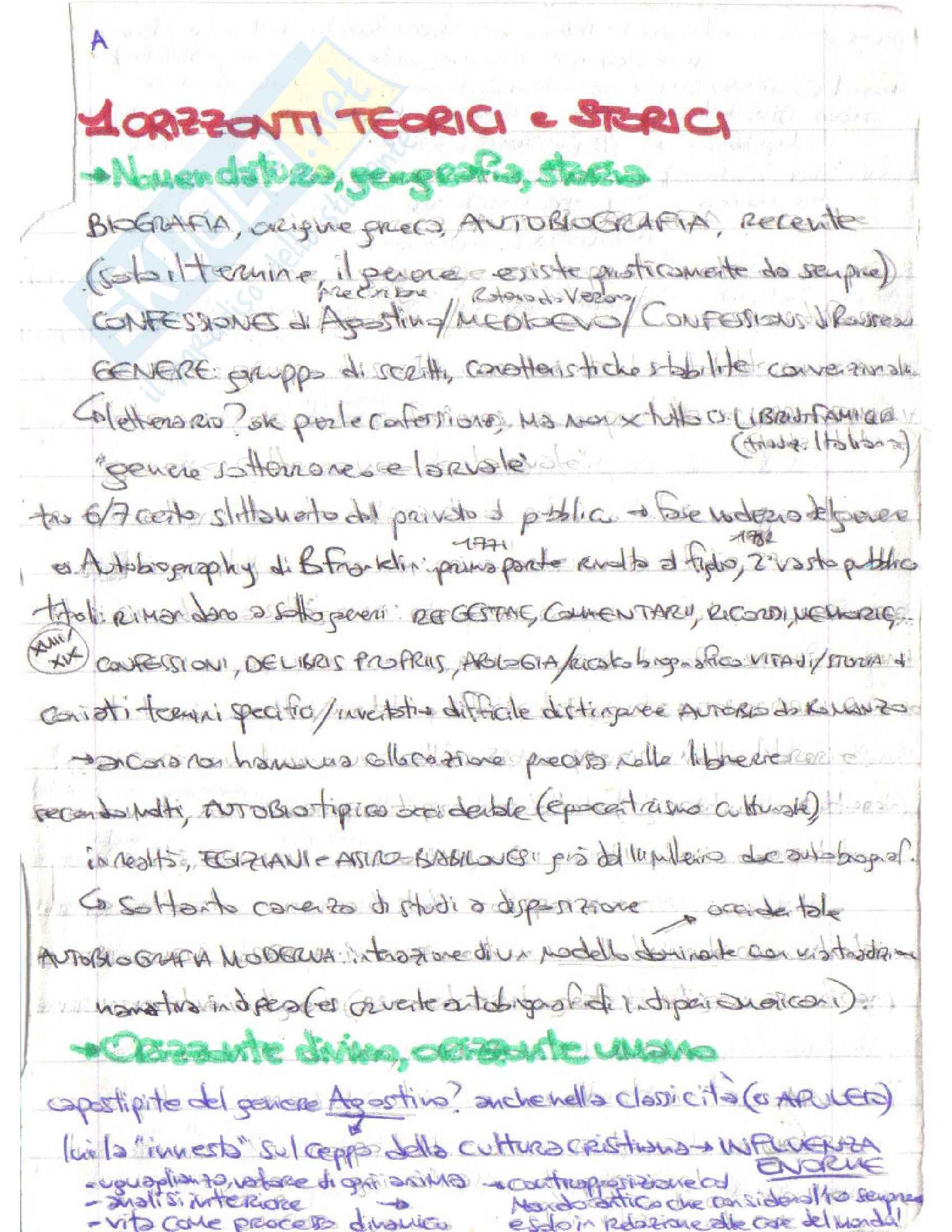 Riassunto esame Letteratura italiana, prof. D'Intino, libro consigliato Autobiografia Moderna. Storie, forme, problemi, D'intino