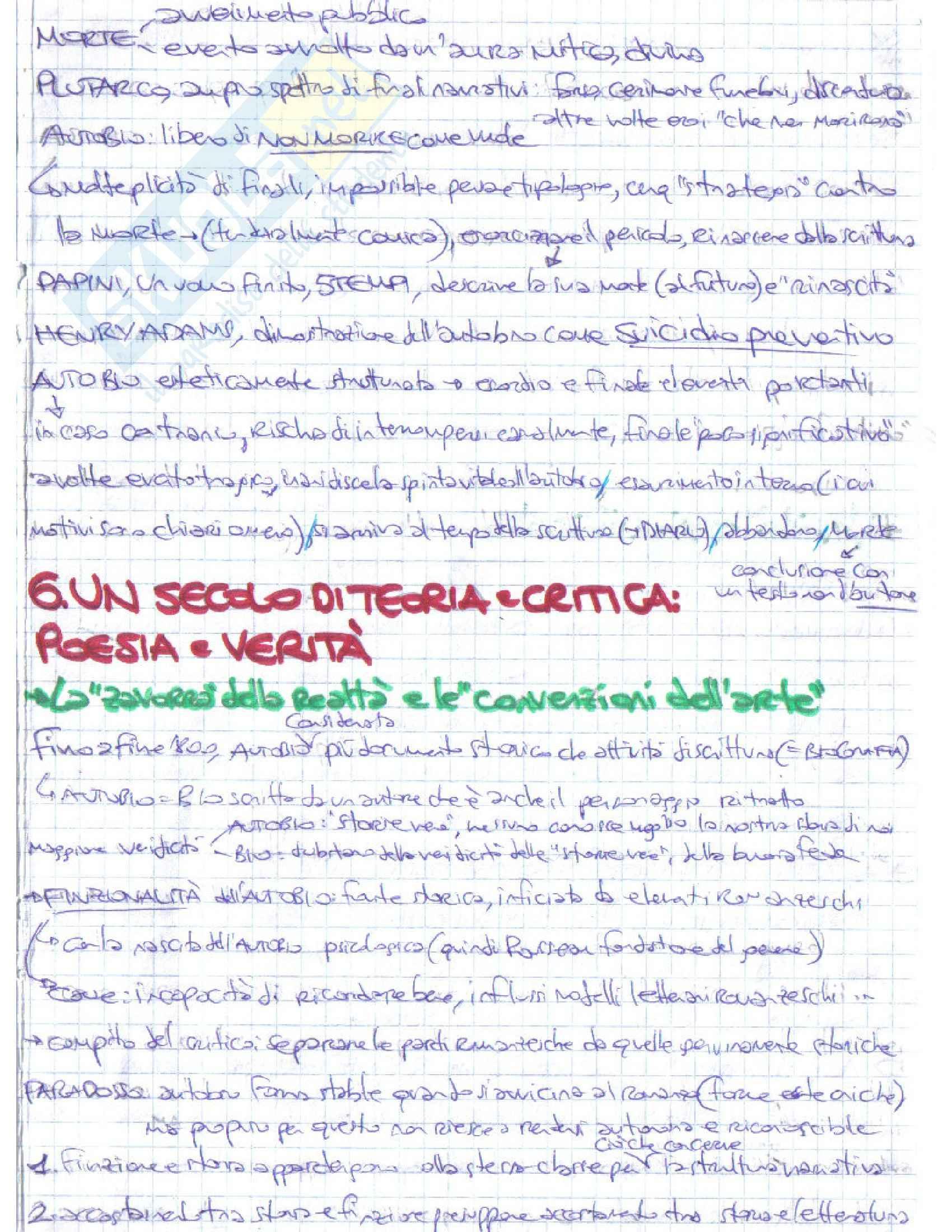 Riassunto esame Letteratura italiana, prof. D'Intino, libro consigliato Autobiografia Moderna. Storie, forme, problemi, D'intino Pag. 21
