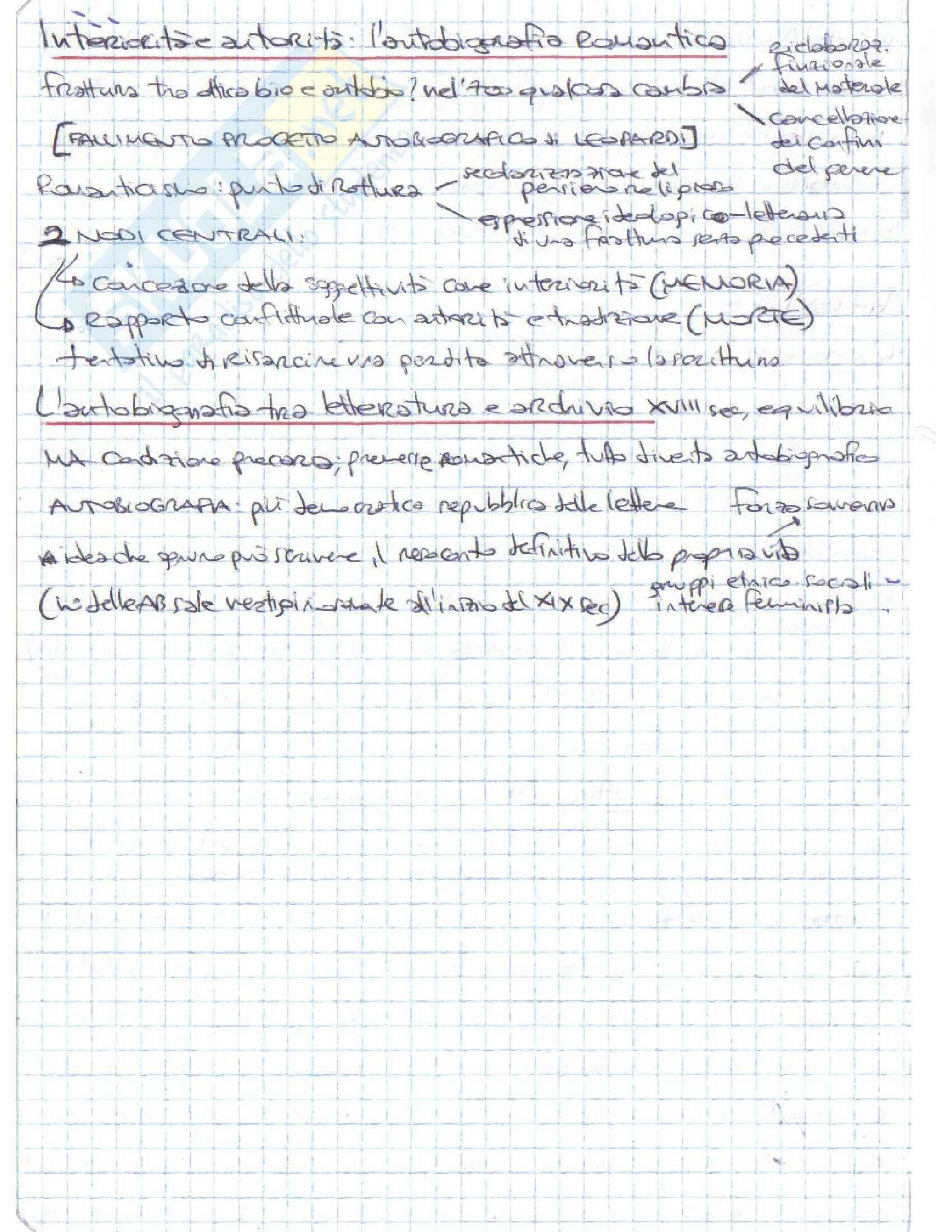Riassunto esame Letteratura italiana, prof. D'Intino, libro consigliato Autobiografia Moderna. Storie, forme, problemi, D'intino Pag. 26