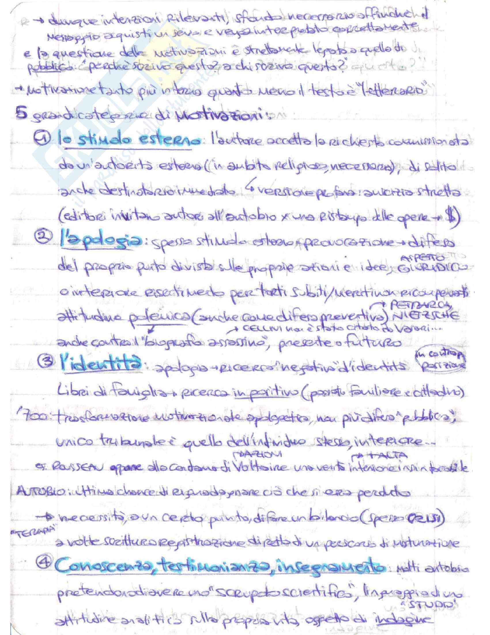 Riassunto esame Letteratura italiana, prof. D'Intino, libro consigliato Autobiografia Moderna. Storie, forme, problemi, D'intino Pag. 6