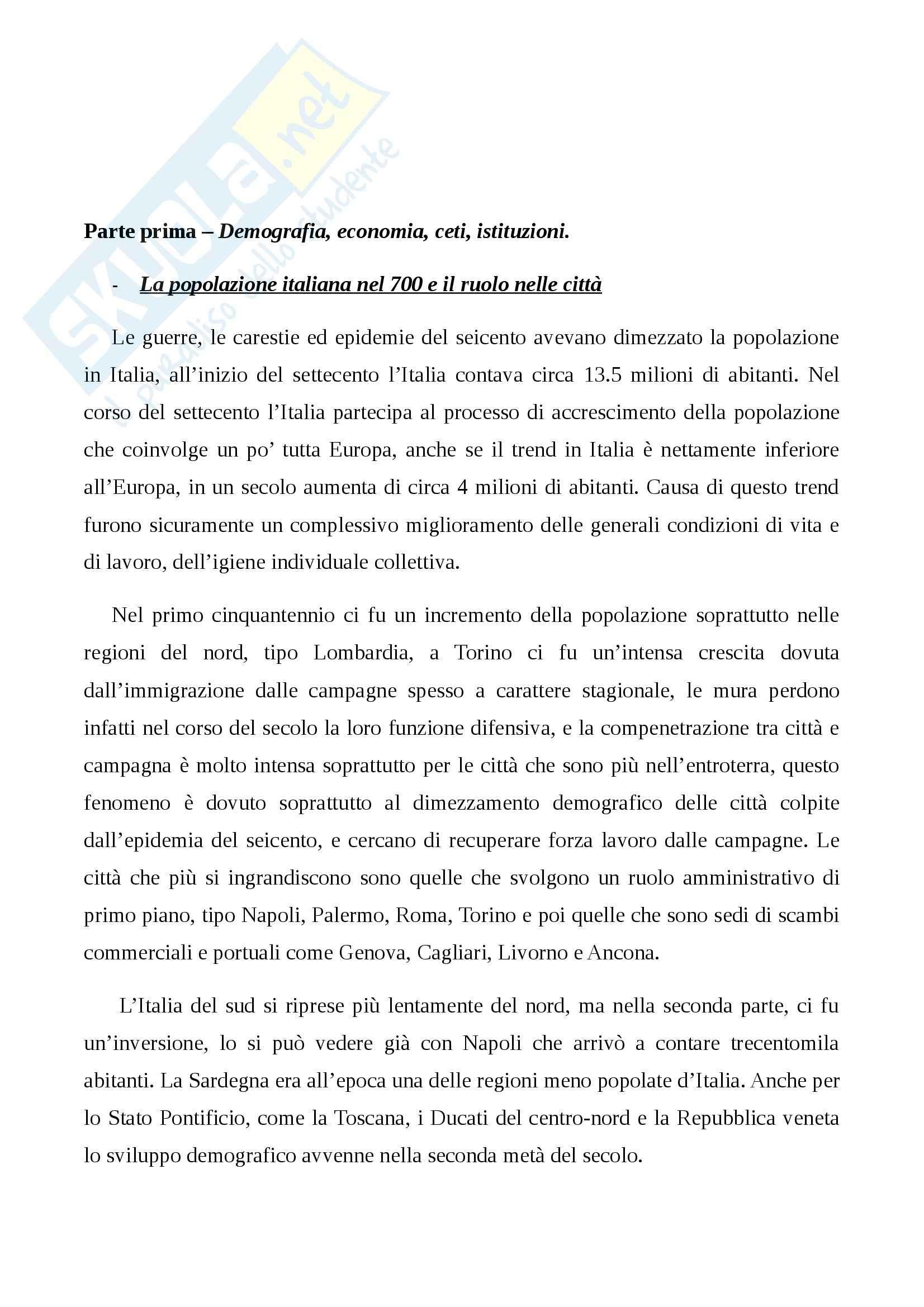 Riassunto esame Storia Moderna, prof. Damiani, libro consigliato L'Italia del 700: Crisi, Trasformazioni e Lumi, Carpanetto, Recuperati