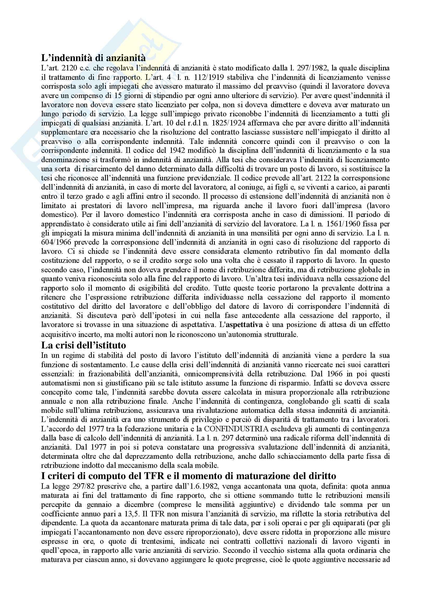 Diritto del lavoro - Tfr