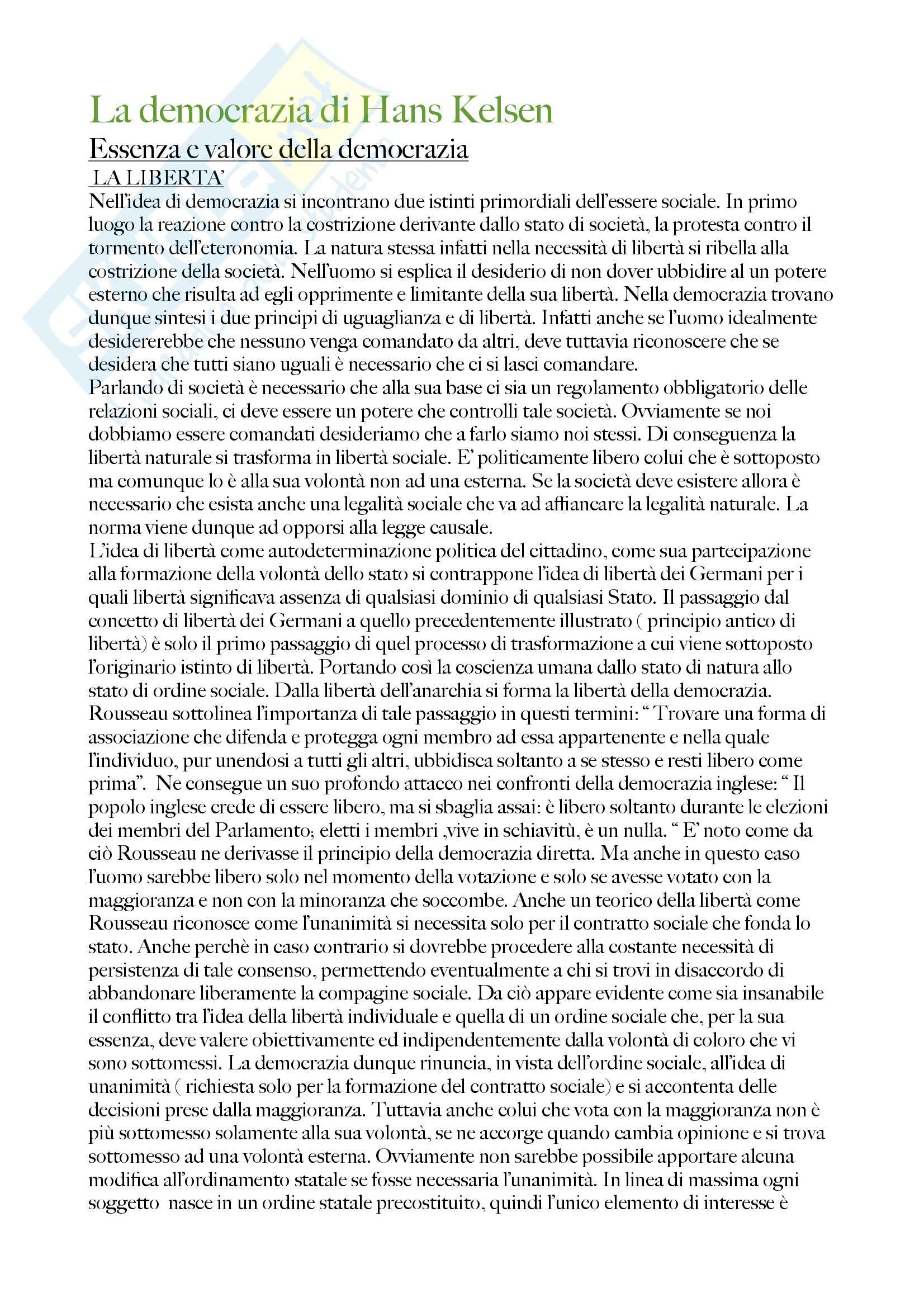 La democrazia, Kelsen - Appunti