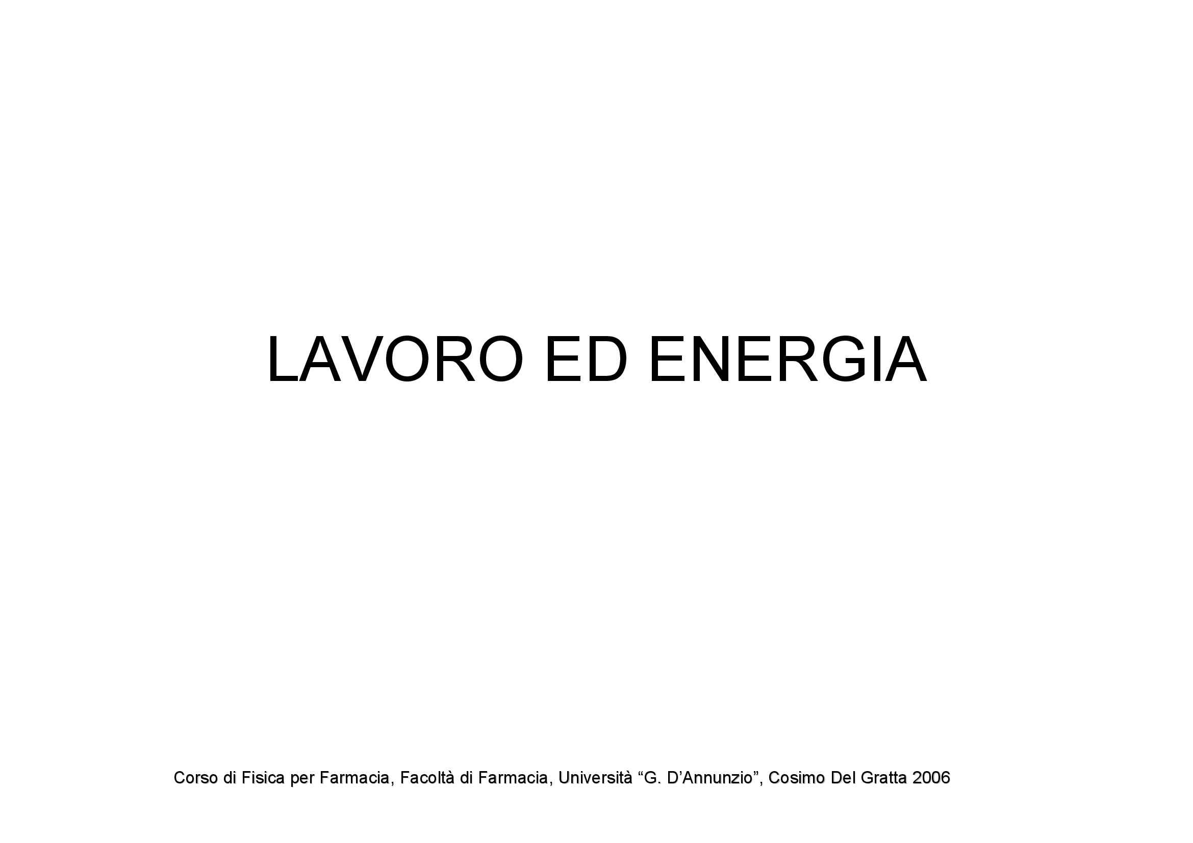 Lavoro ed energia Pag. 1