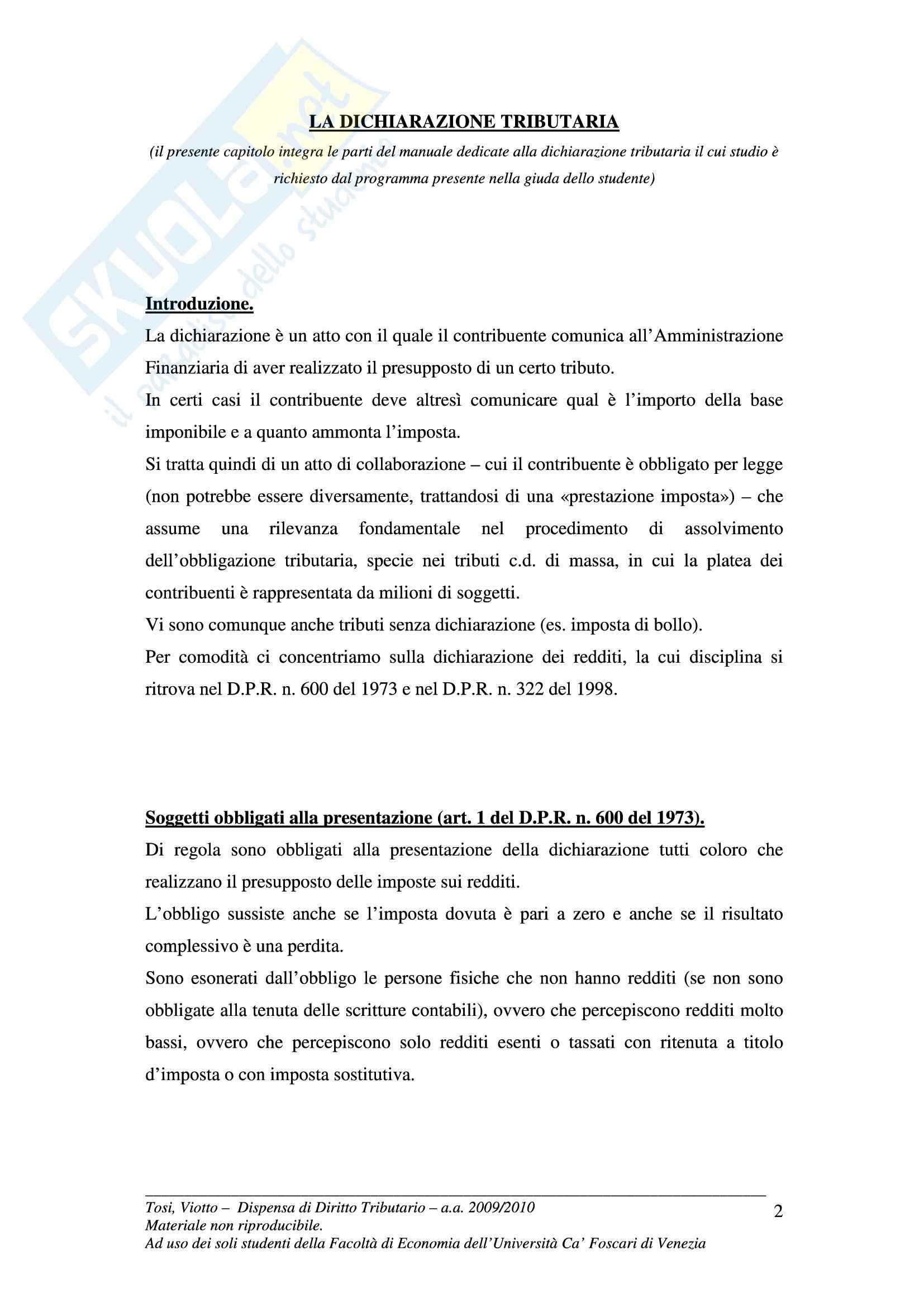 Diritto tributario - Appunti