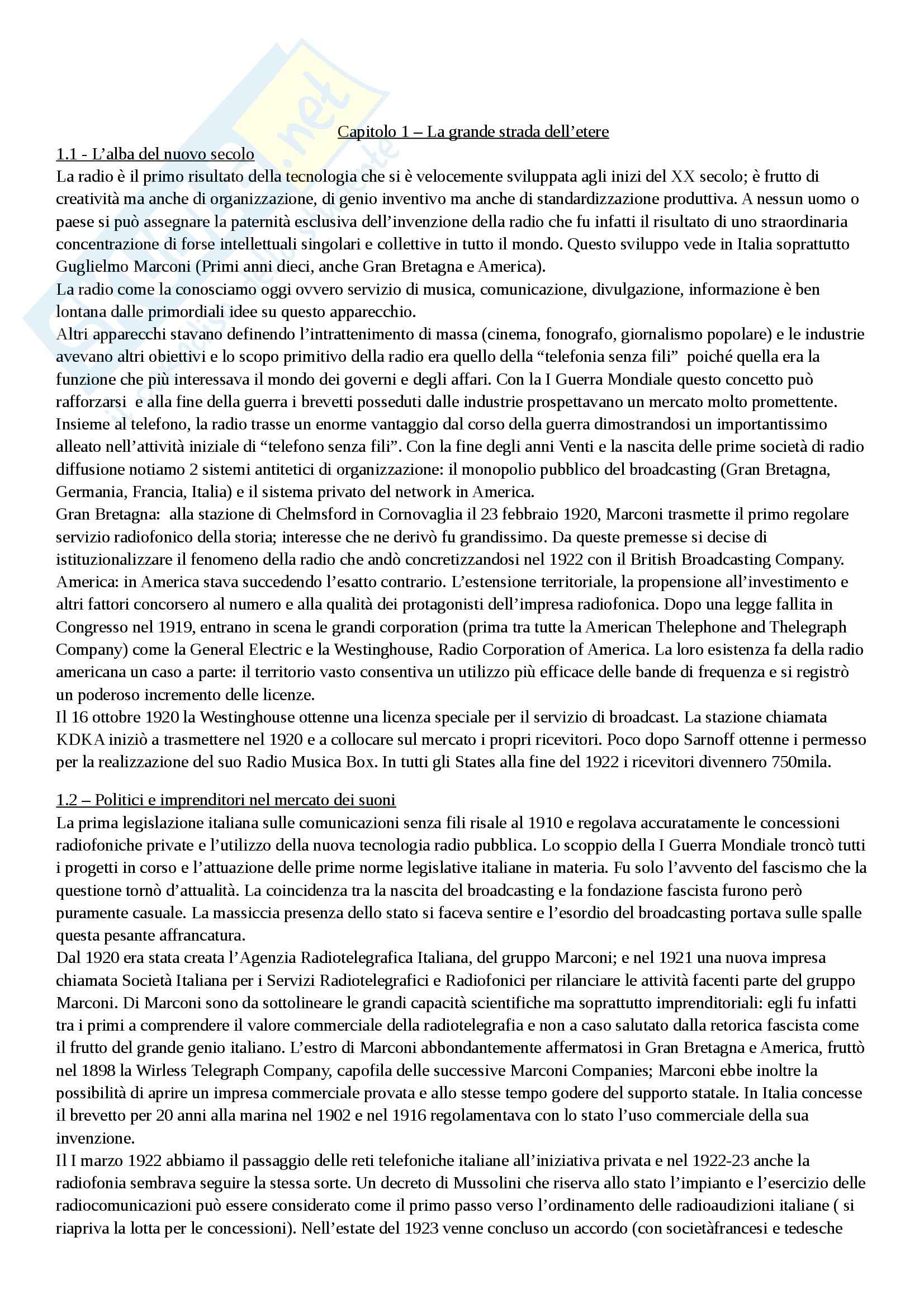Riassunto esame Storia del cinema, prof. Valentini, libro consigliato Storia della radio e della televisione in Italia, Monteleone