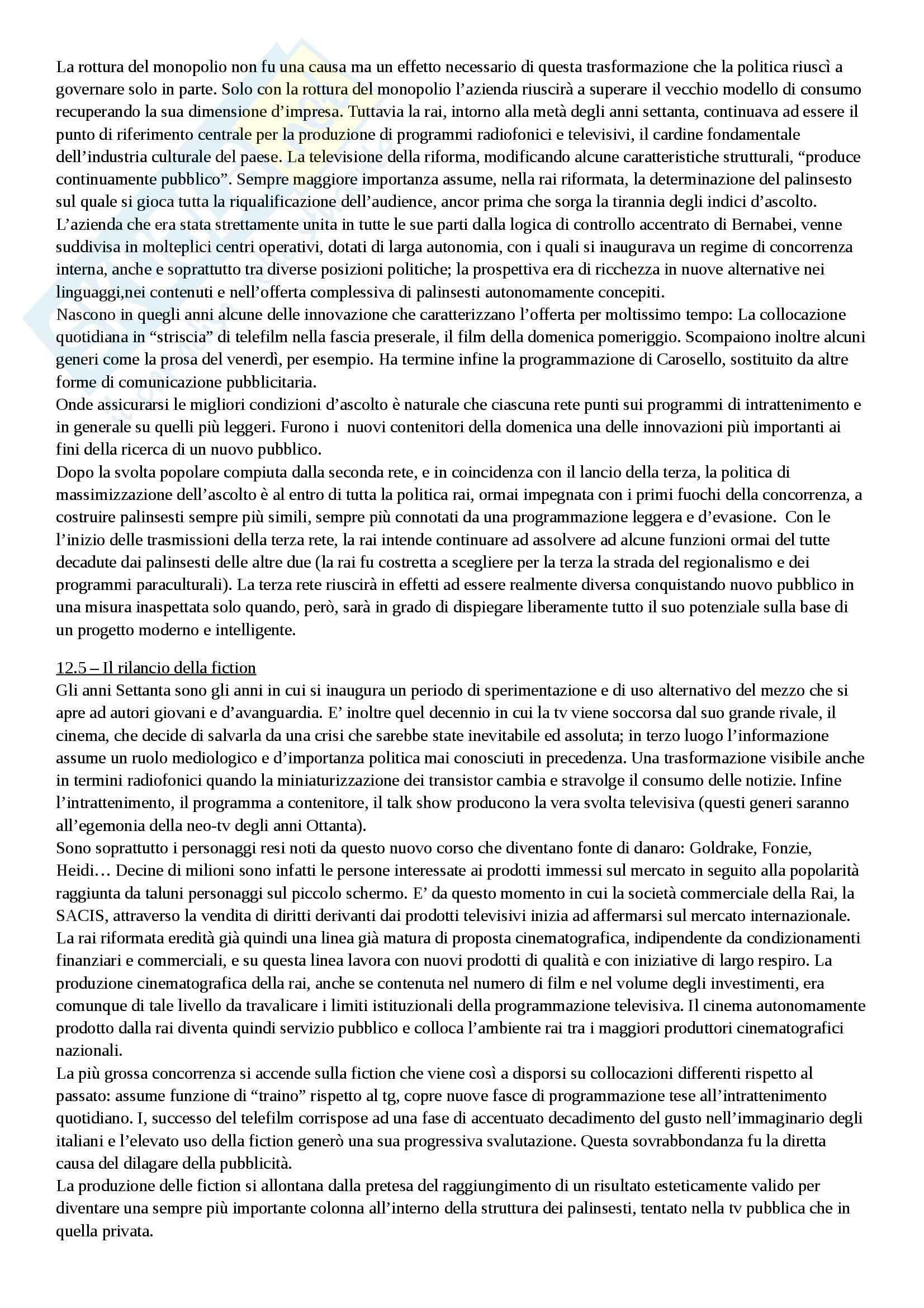 Riassunto esame Storia del cinema, prof. Valentini, libro consigliato Storia della radio e della televisione in Italia, Monteleone Pag. 16