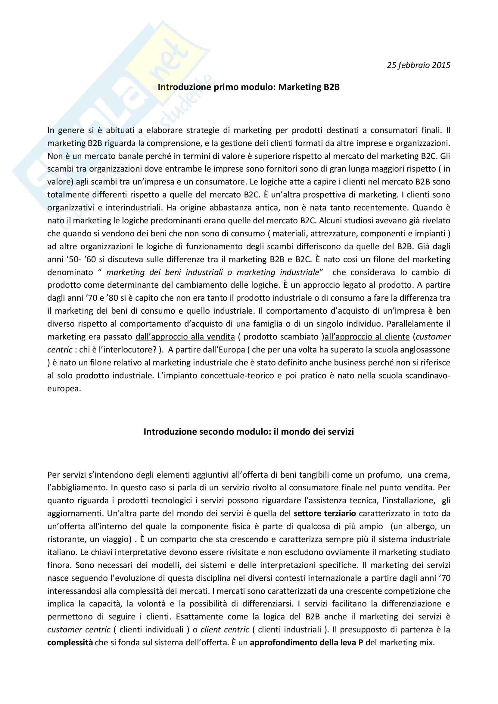 appunto A. Tunisini Marketing II: Business to Business