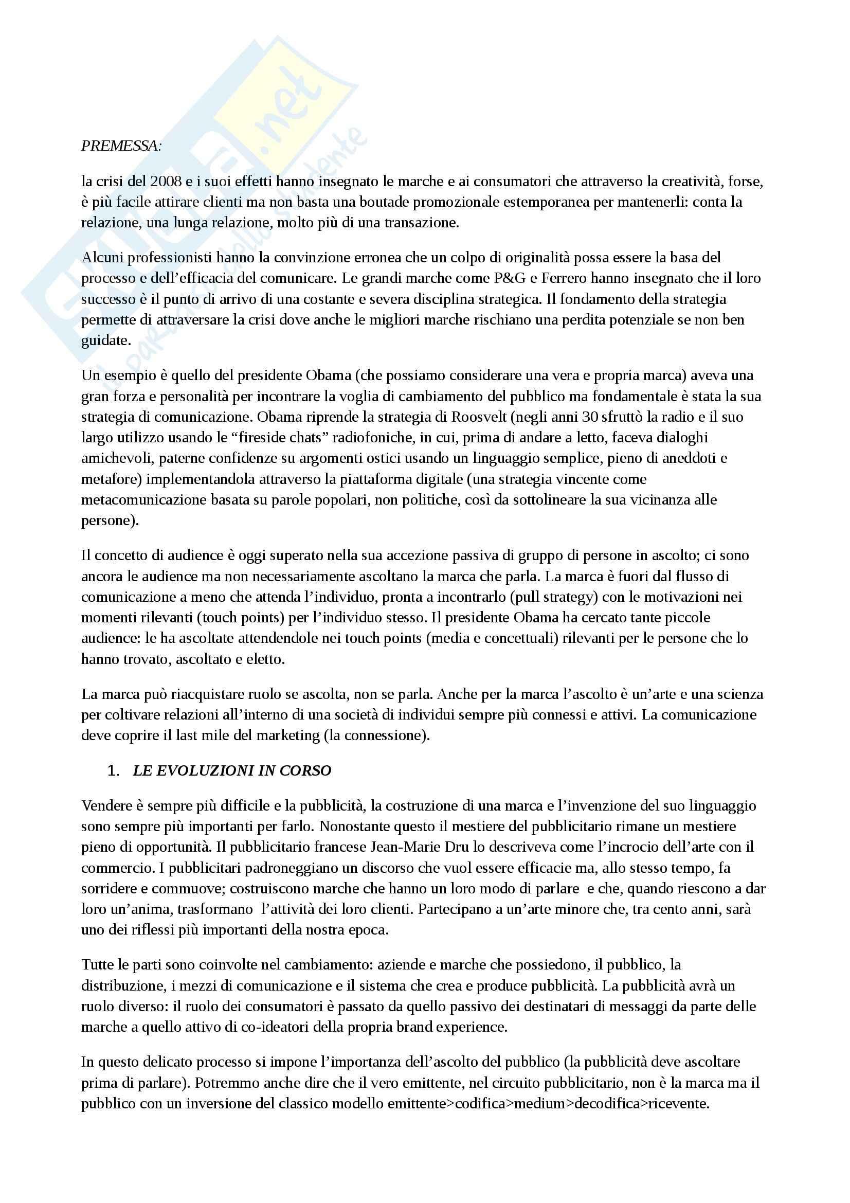 Riassunto esame Pubblicità e strategie di comunicazione integrata, prof. Ceriani, libro consigliato La strategia in pubblicità, Lombardi