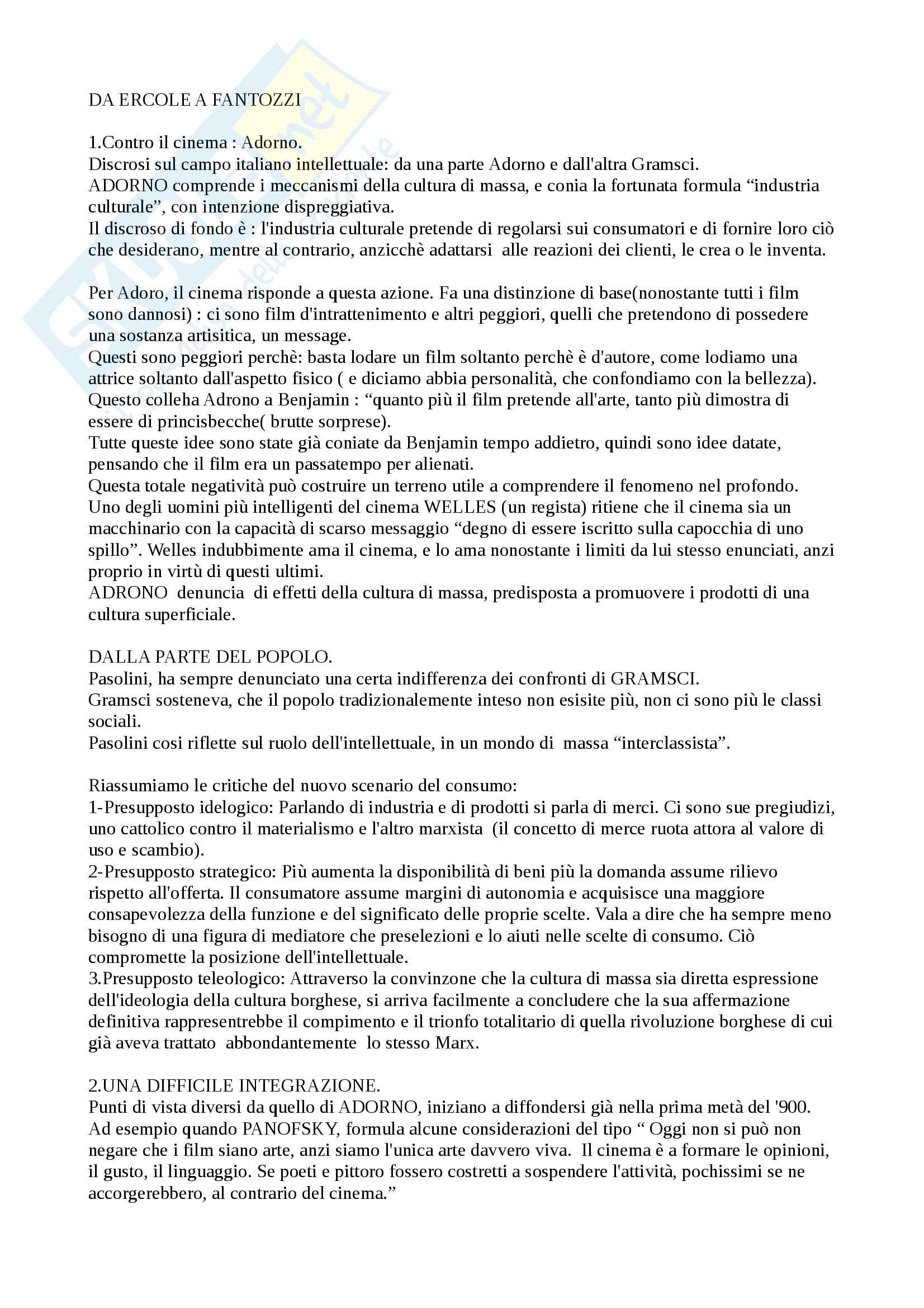 Riassunto esame di storia del cinema italiano, Prof Manzoni, libro consigliato  Manzoni, Da Ercole a Fantozzi: cinema popolare e società italiana dal boom economico alla neo-televisione