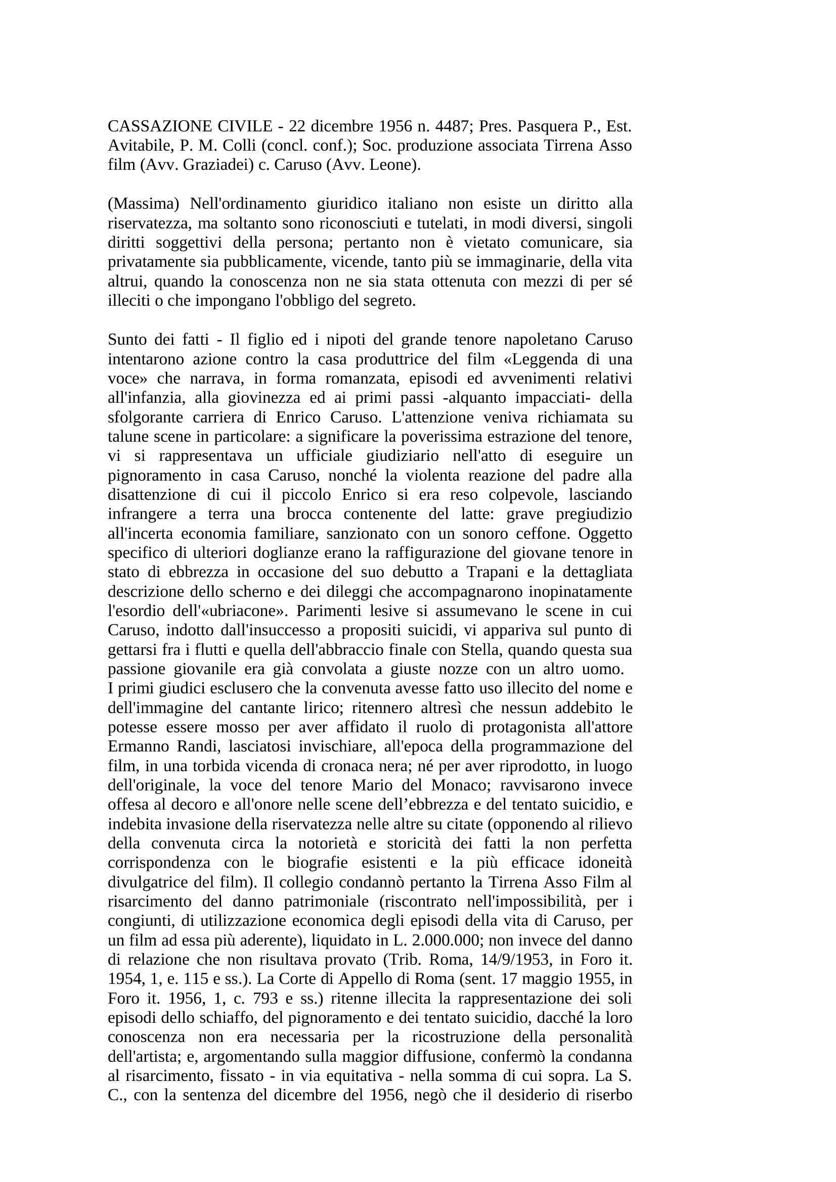 Diritto alla riservatezza - Cass. Civ. n. 4487/56