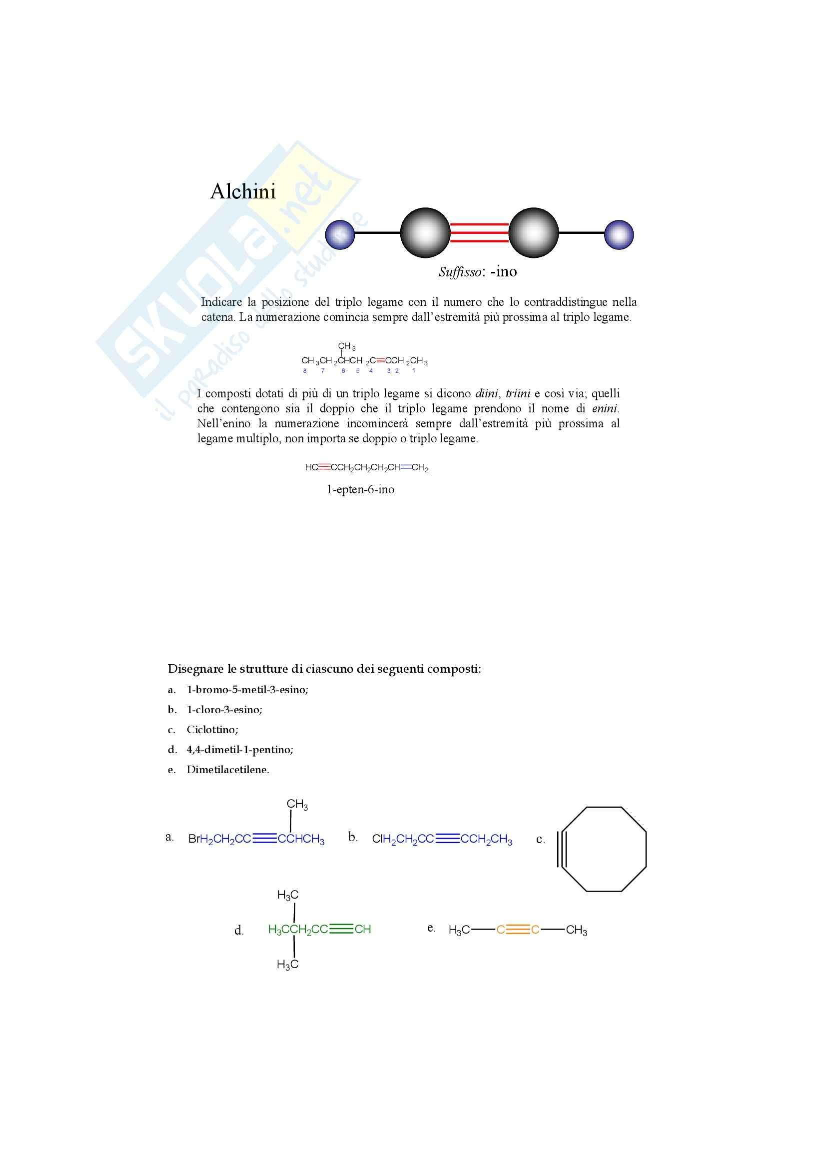Chimica organica - gli alchini