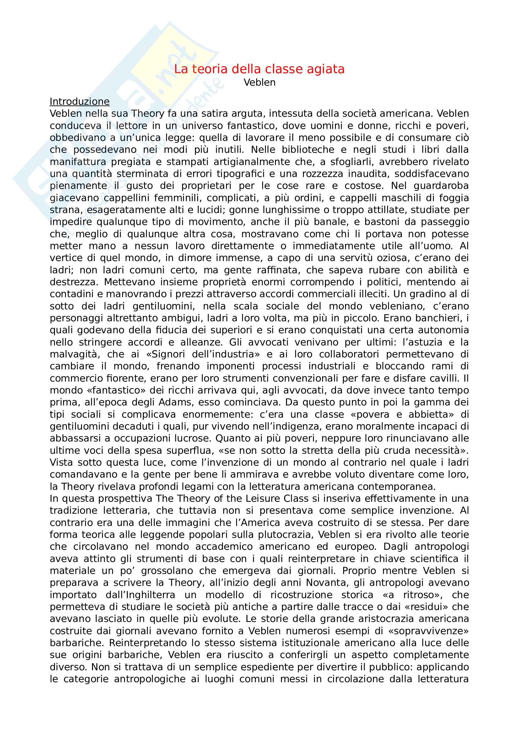 Riassunto esame reti sociali e stili di vita, prof. Cristina Sofia, libro consigliato La teoria della classe agiata, autore Thorstein Veblen