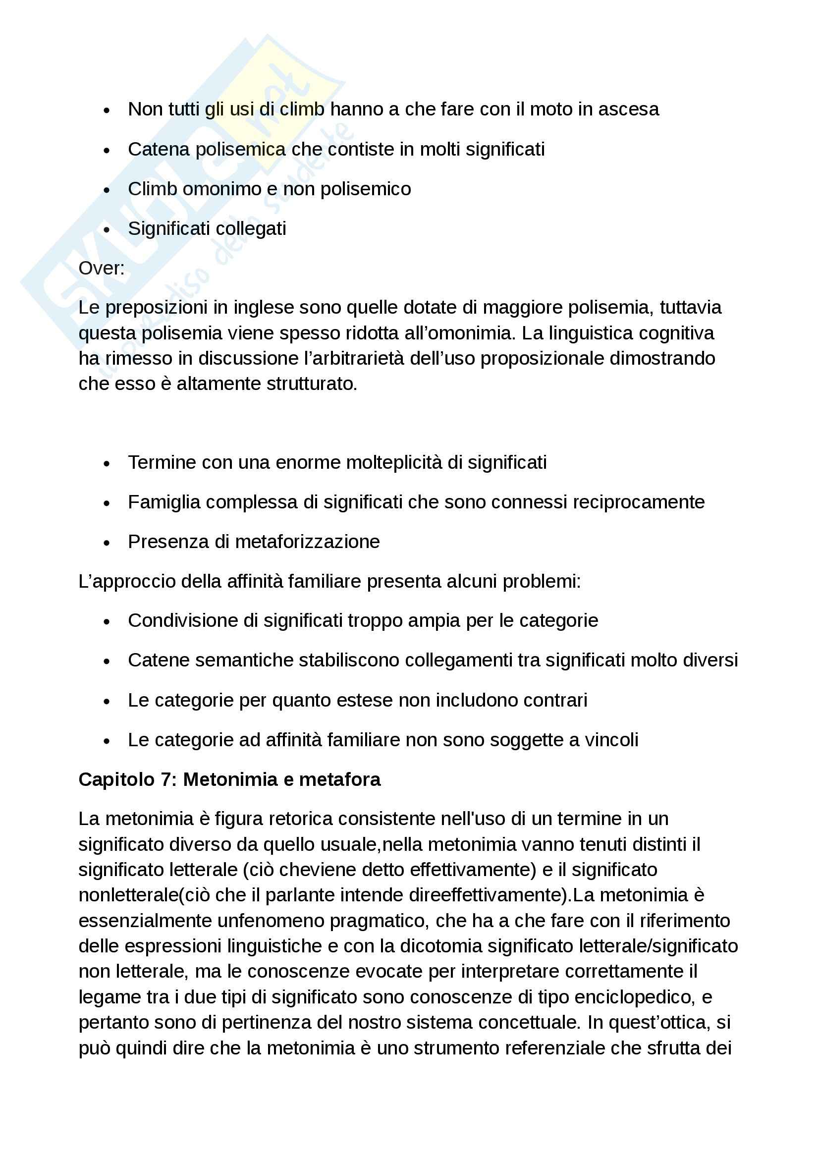 Riassunto esame Linguistica applicata, prof. Iannaccaro, libro consigliato La Categorizzazione linguistica, Taylor Pag. 11