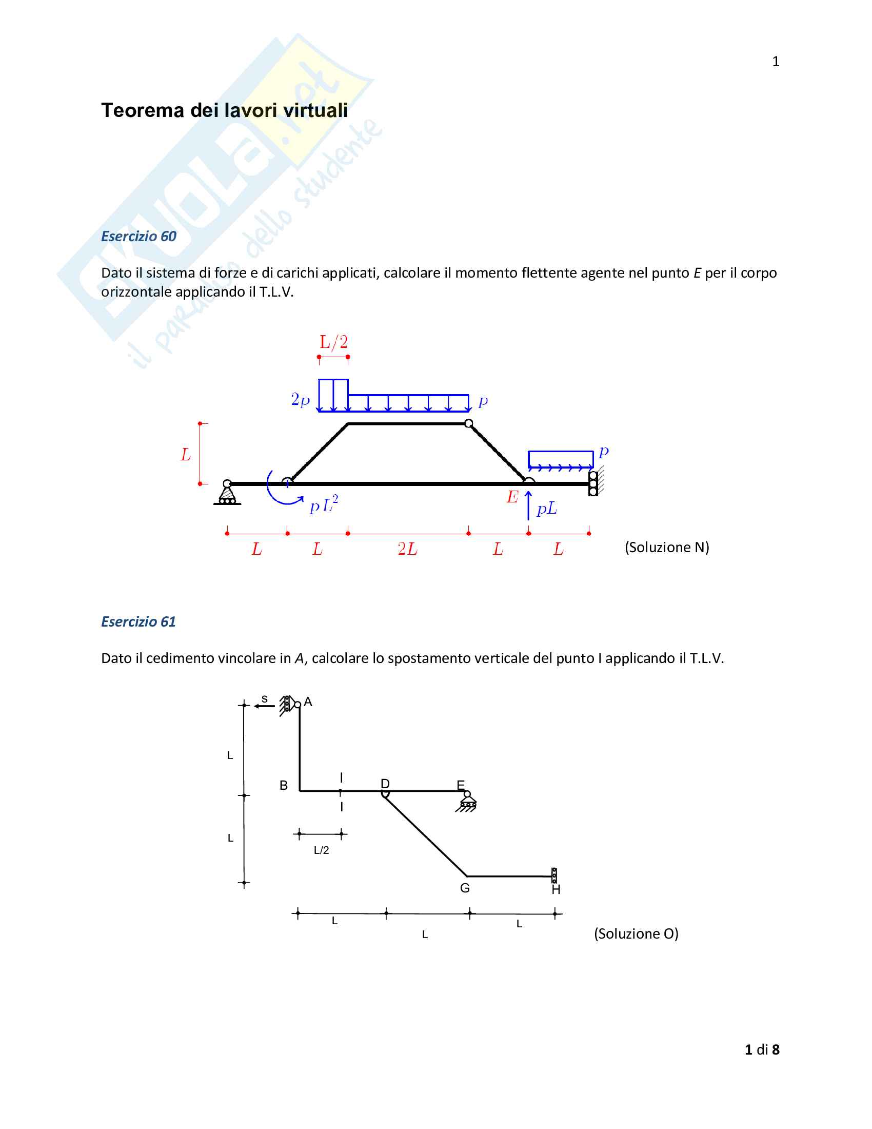 Statica: 21 esercizi svolti cinematica e statica dei corpi rigidi, Teorema dei lavori virtuali, strutture reticolari e geometria delle aree Pag. 6