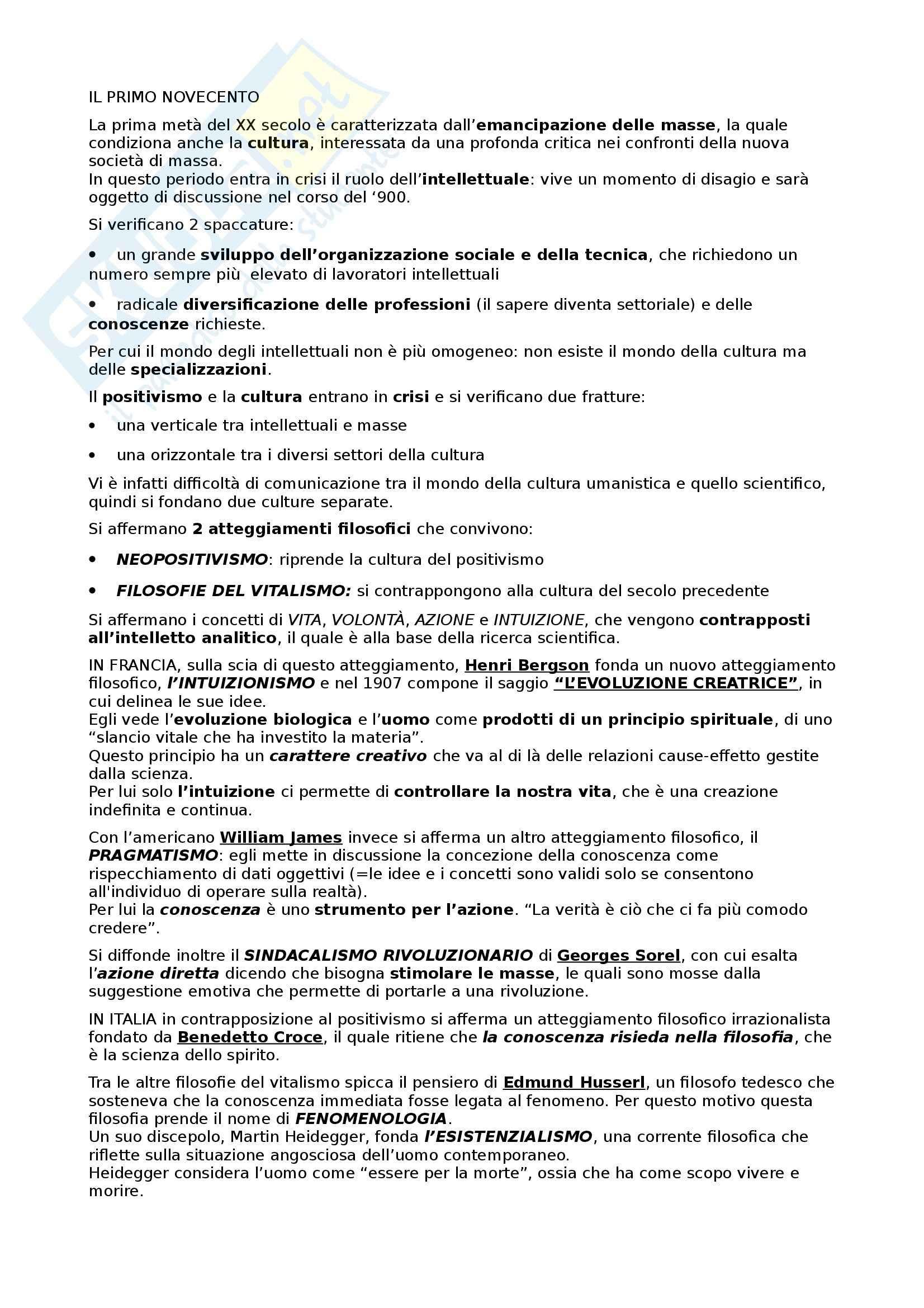 Letteratura italiana - Primo Novecento