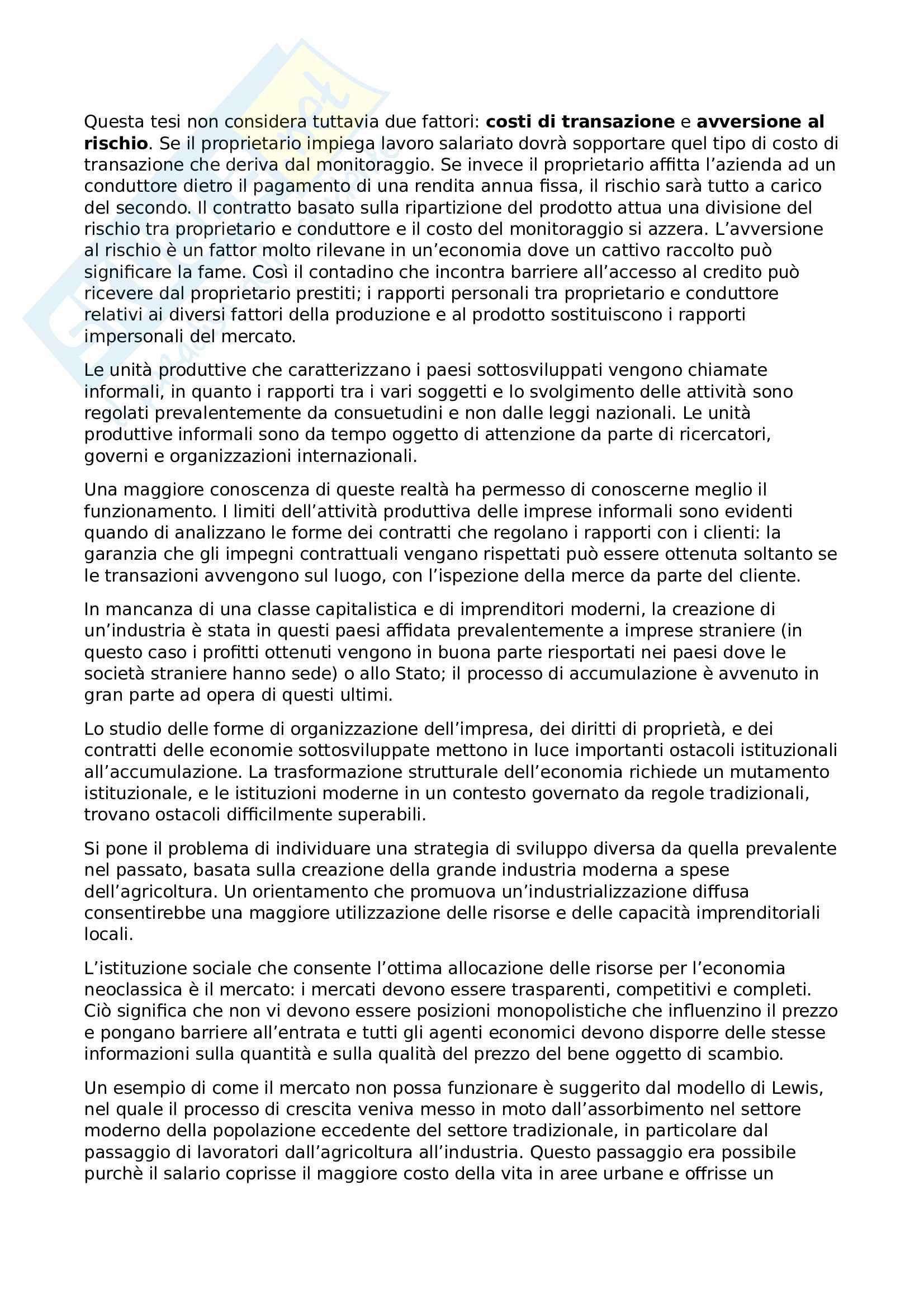 Riassunto esame Economia dello sviluppo, prof. Basile, libro consigliato Lezioni di economia dello sviluppo, Volpi Pag. 21