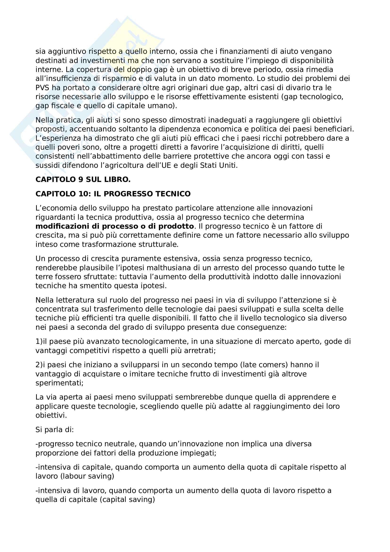 Riassunto esame Economia dello sviluppo, prof. Basile, libro consigliato Lezioni di economia dello sviluppo, Volpi Pag. 26