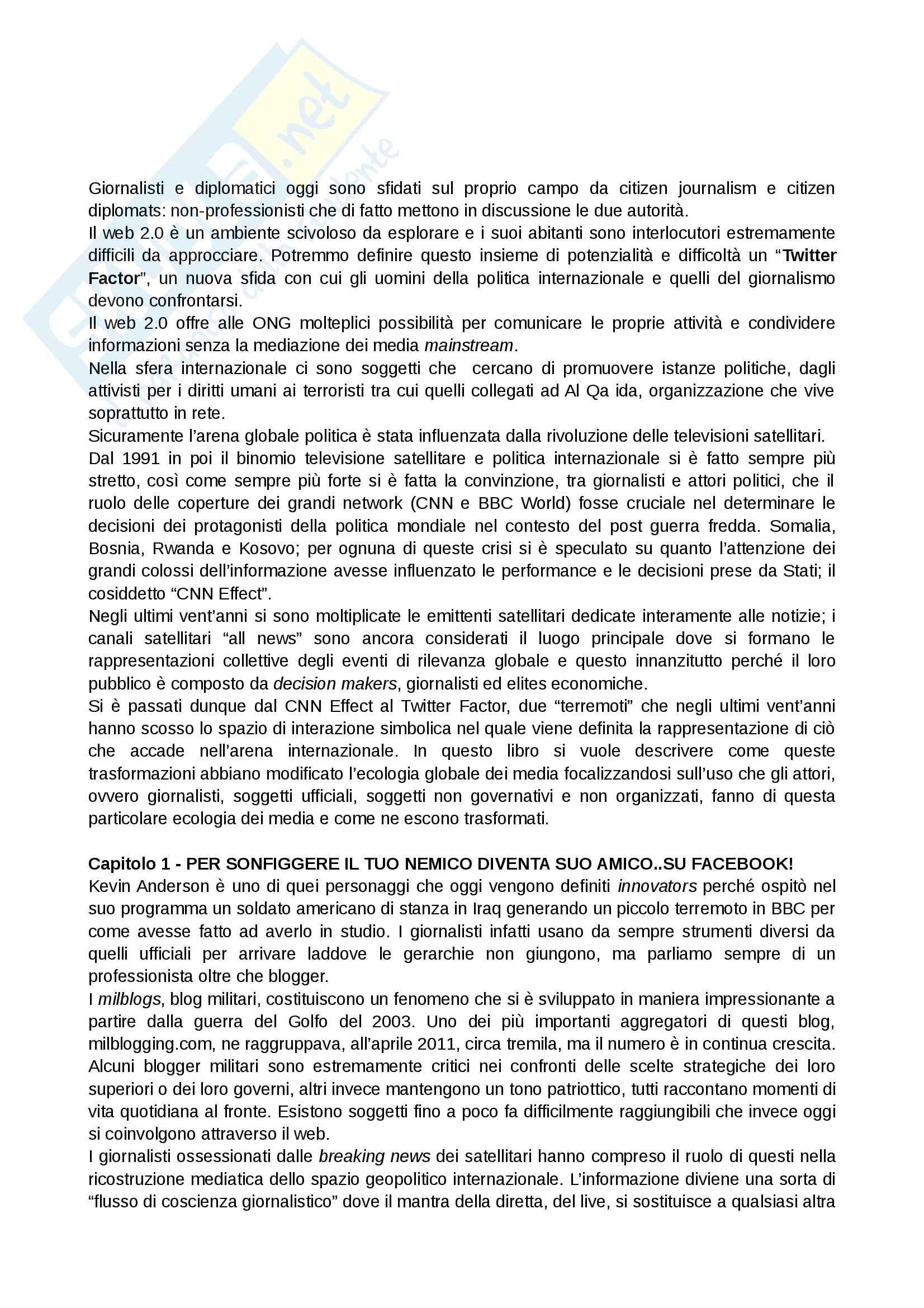 Riassunto esame Giornalismo Internazionale, prof. Benotti, libro consigliato Twitter Factor, Valeriani